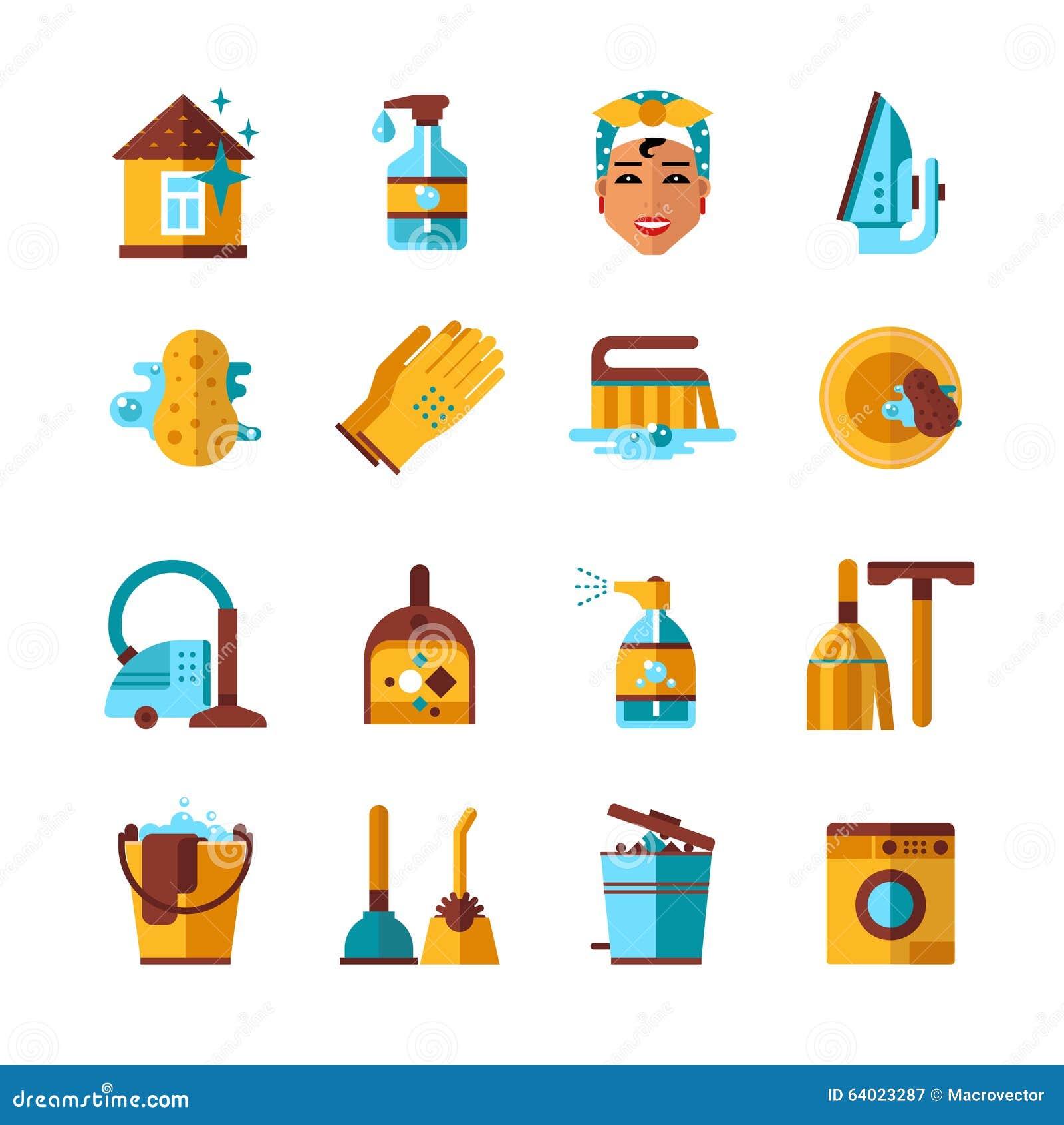 Governo della casa che pulisce le icone piane messe for Campionare le planimetrie della casa