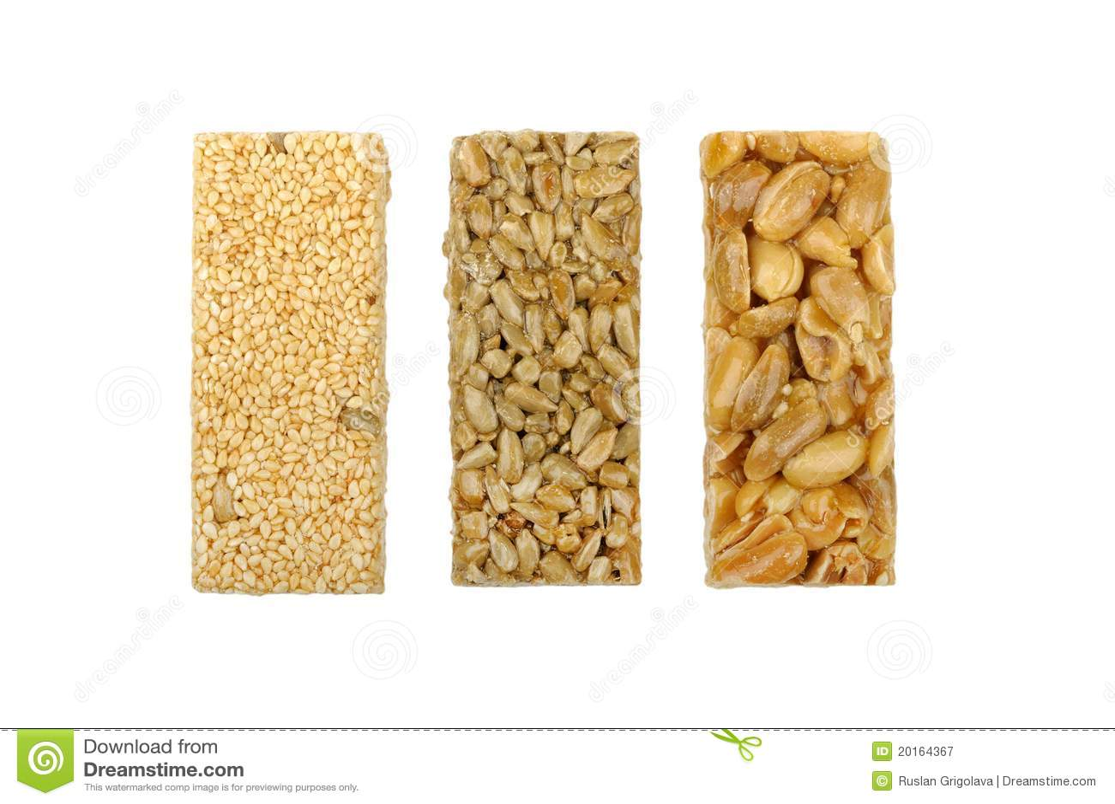 Gozinaki of sunflower seeds sesame seeds and peanuts isolated on a    Gozinaki