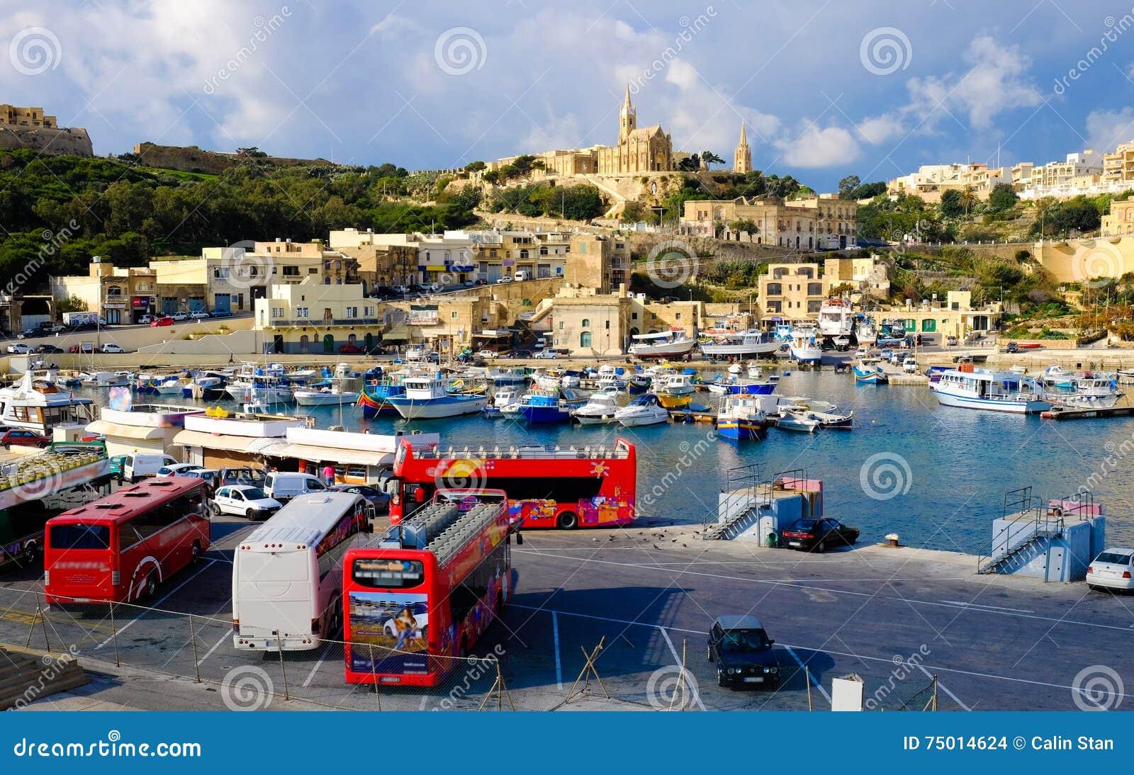 Gozo马耳他 第二个海岛在大小上在马耳他 港口视图wi