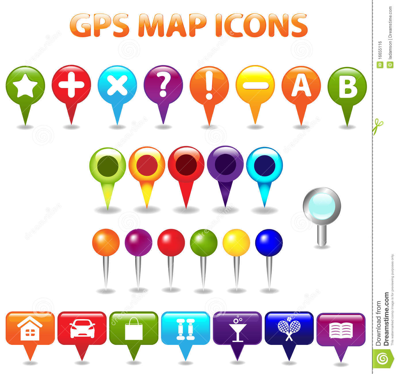 GPS Color Map Icons. Vector Royalty Free Stock Image - Image: 16655116