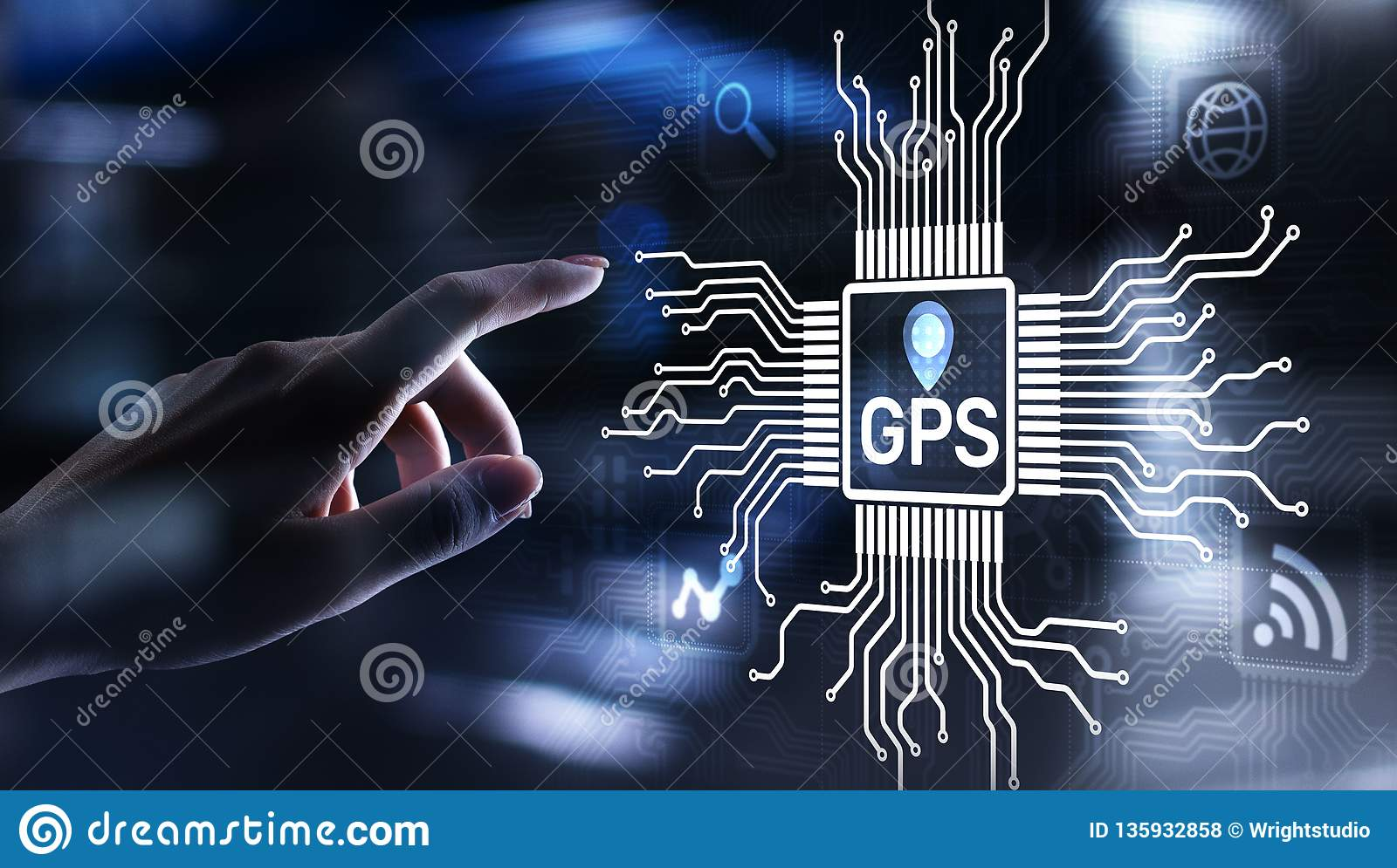 GPS - Global Positioning System, Navigation Tracking Control Technology concept.