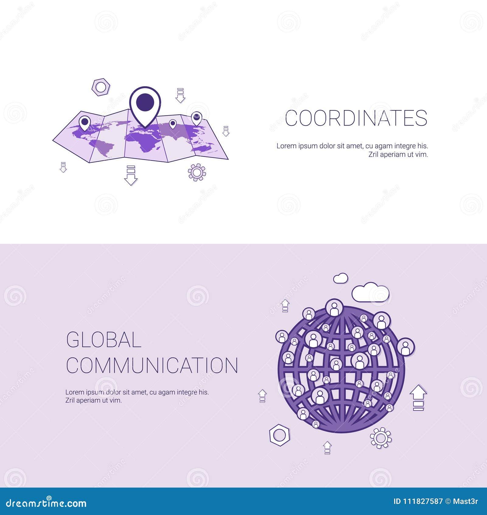 Gps-Koordinaten-Karte Und Gobal-Kommunikations-Schablonen