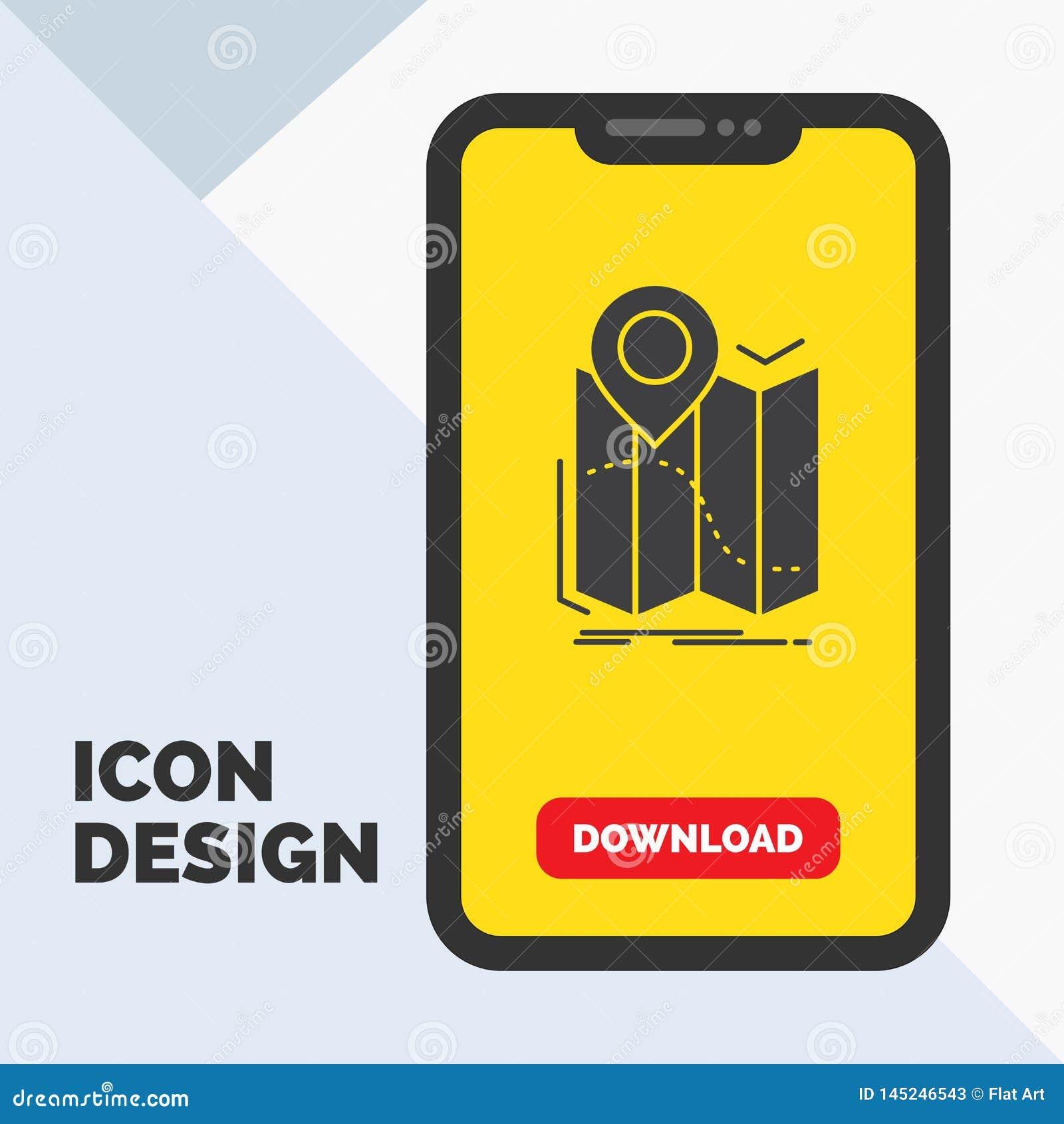 Gps läge, översikt, navigering, ruttskårasymbol i mobilen för nedladdningsida Gul bakgrund