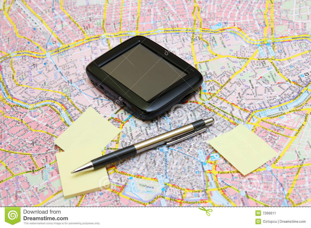 GPS on a Map with Sticker and Pen