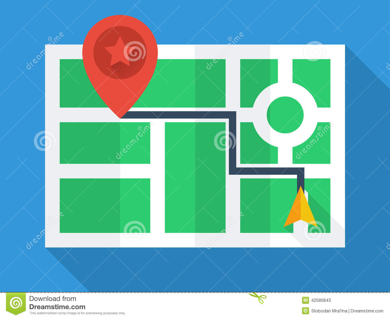 Gps map top view stock vector illustration of modern for Simple flat decoration
