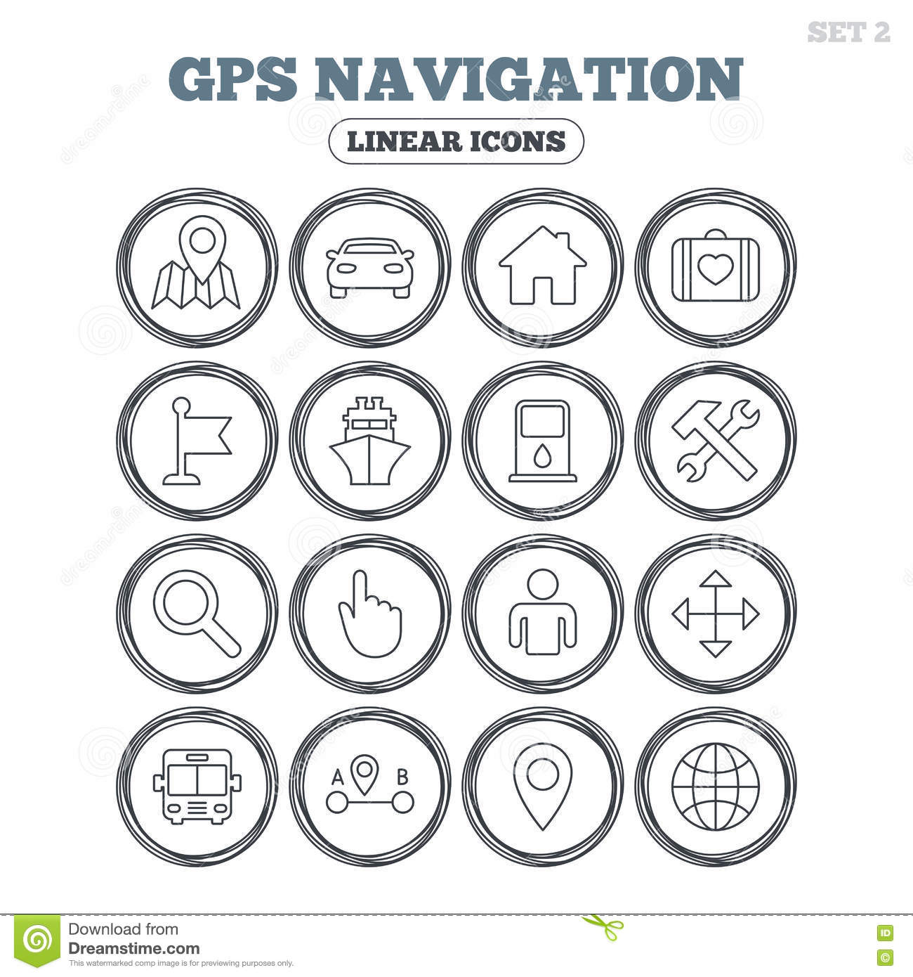 Gps Navigation Icon Car Bus And Ship Transport Stock Vector