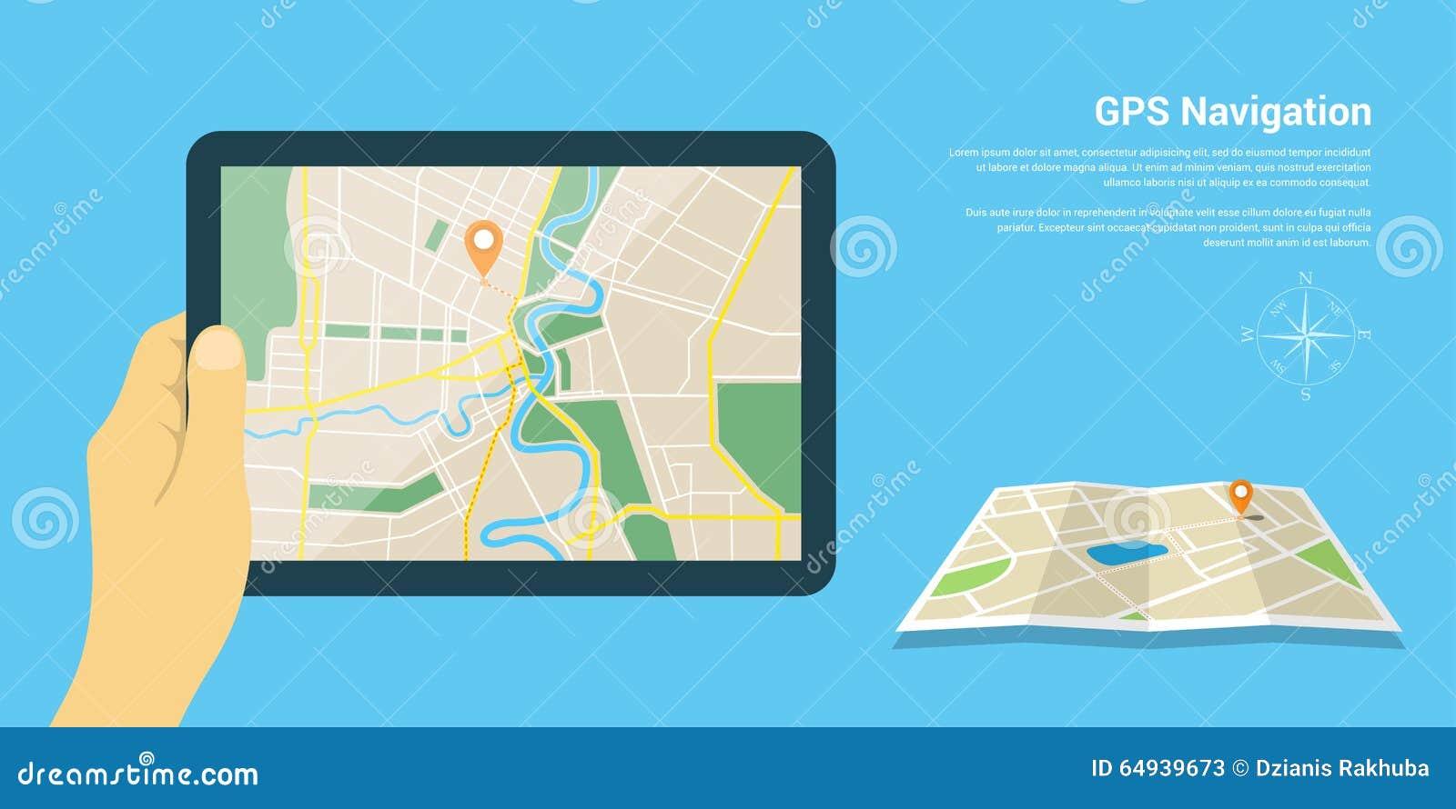 Gps Navigation Map Stock Vector