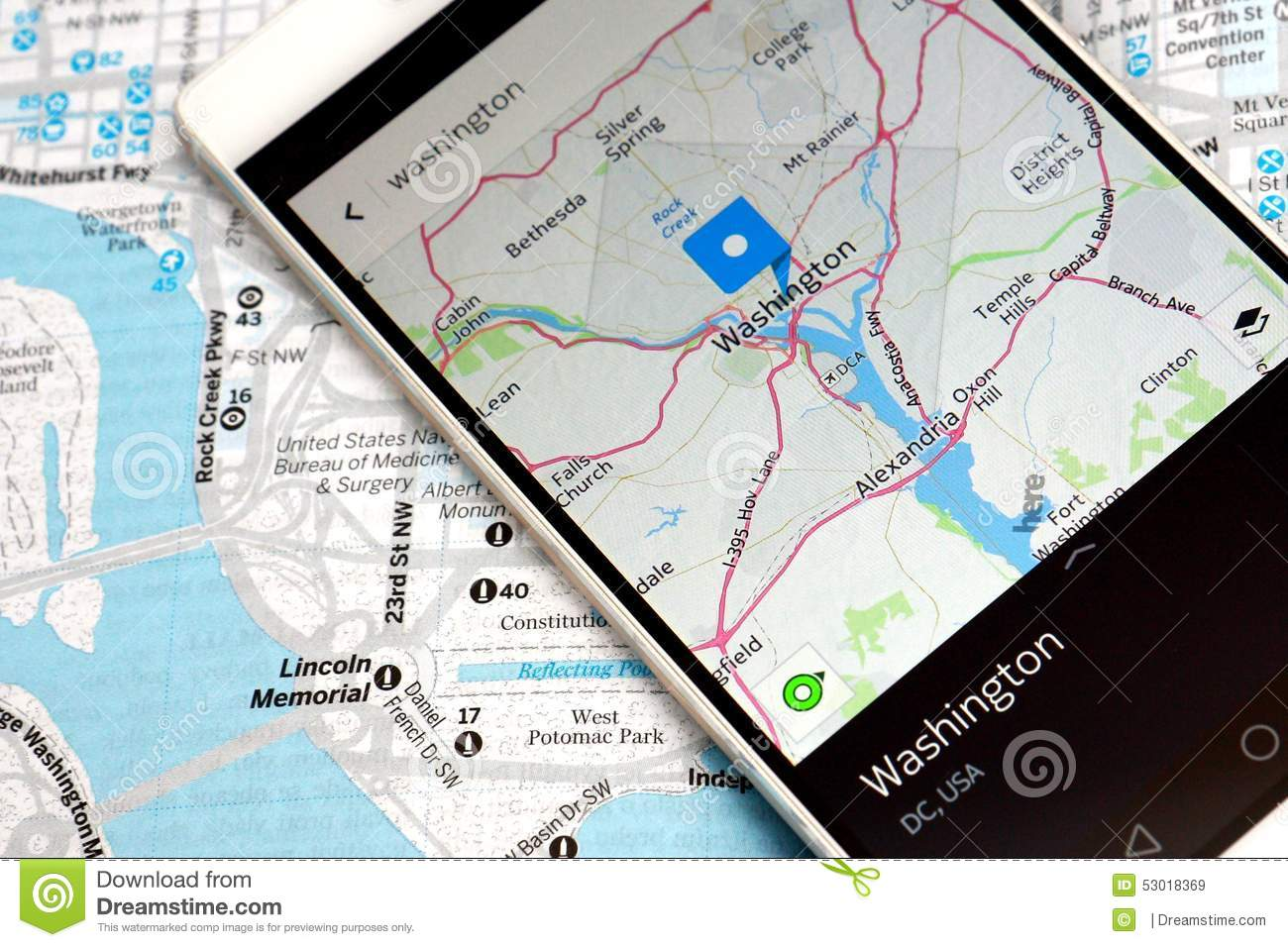 GPS Navigation Map Smartphone Stock Photo - Image: 53018369