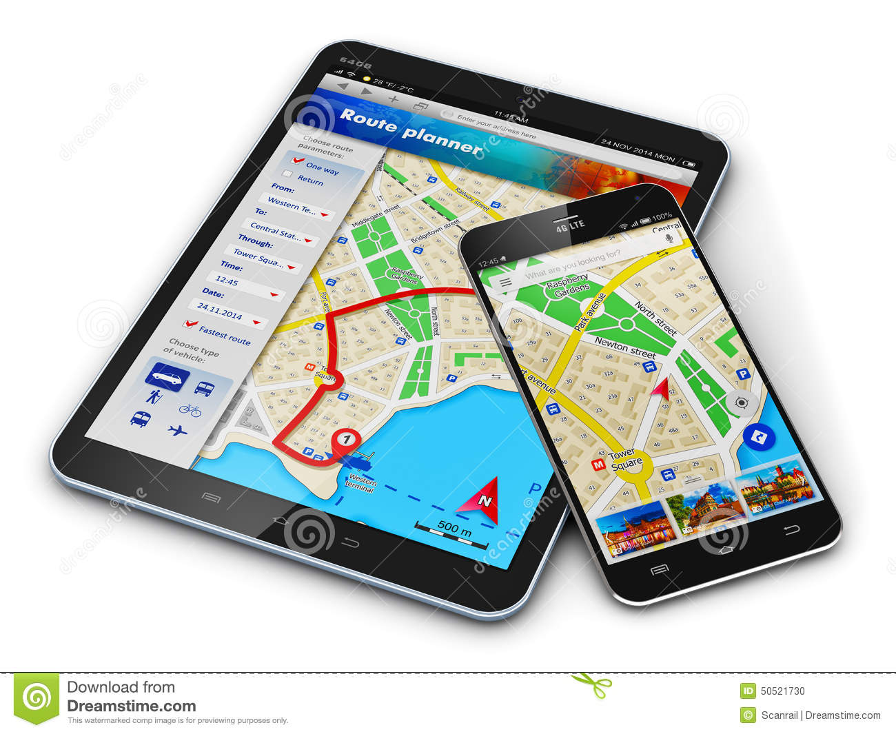 GPS Navigation On Mobile Devices Stock Illustration ...