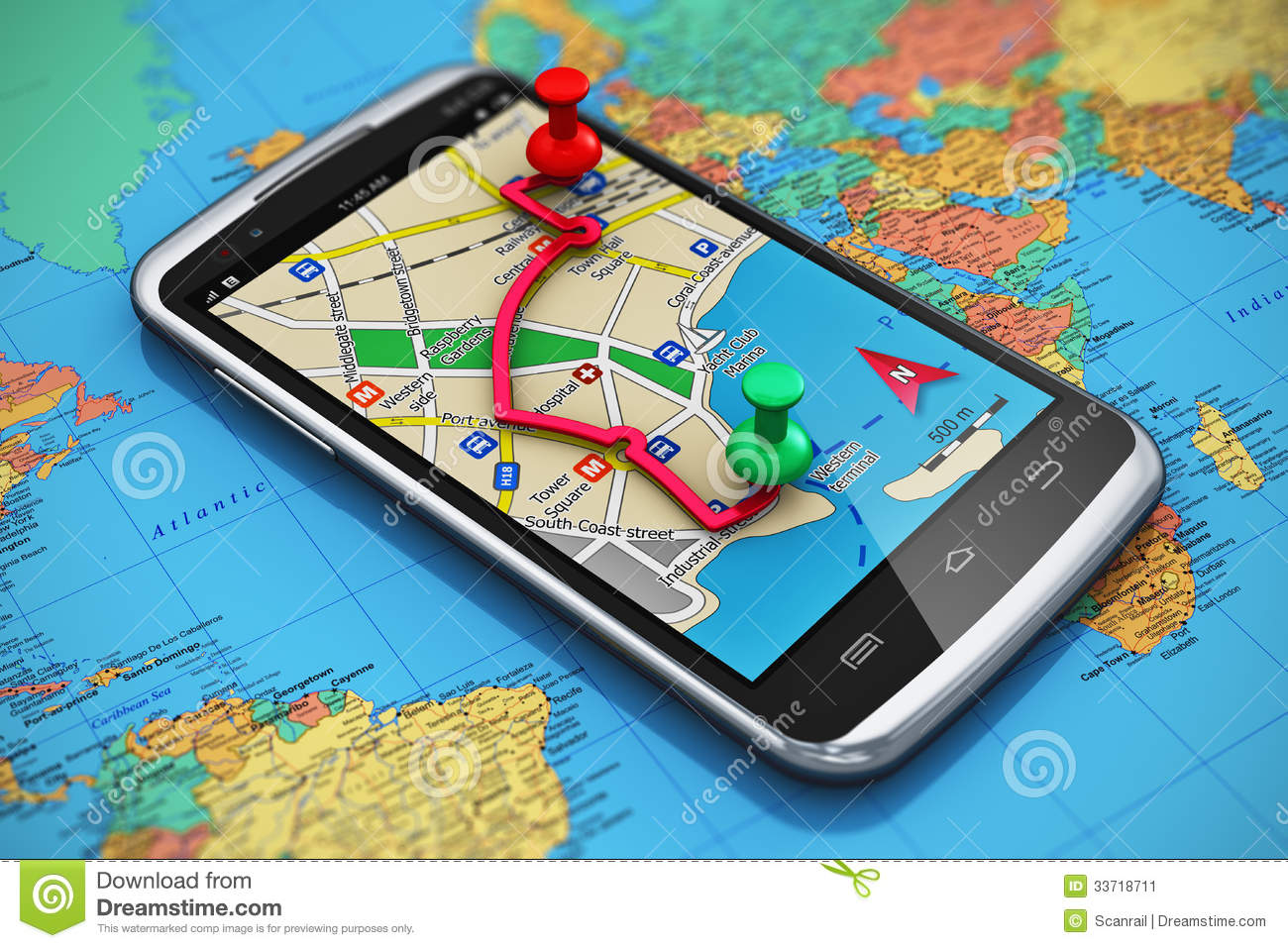 GPS Navigation, Travel And Tourism Concept Stock Image ...