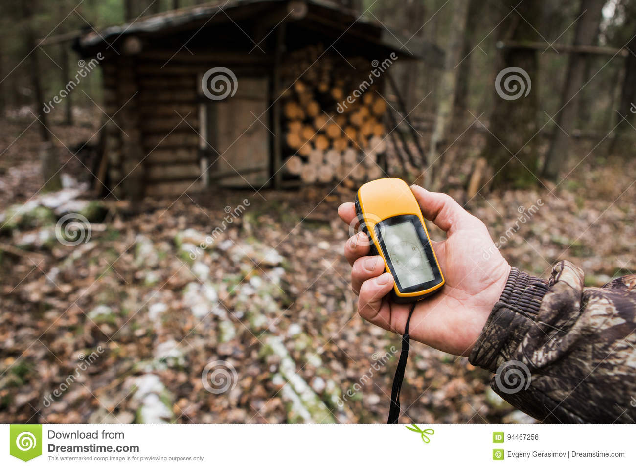 GPS navigator in the forest