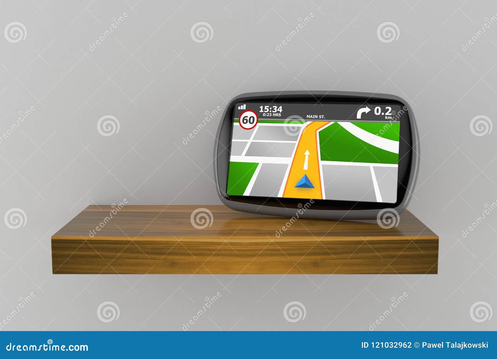 GPS navigering på trähylla