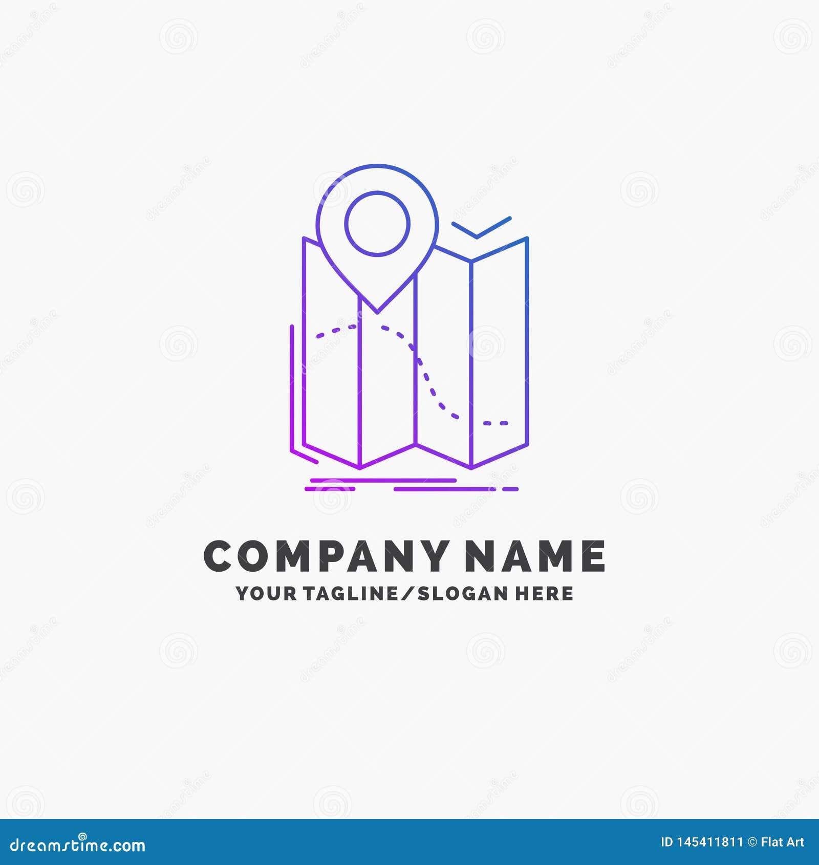 Gps, plaats, kaart, navigatie, leidt Purpere Zaken Logo Template Plaats voor Tagline