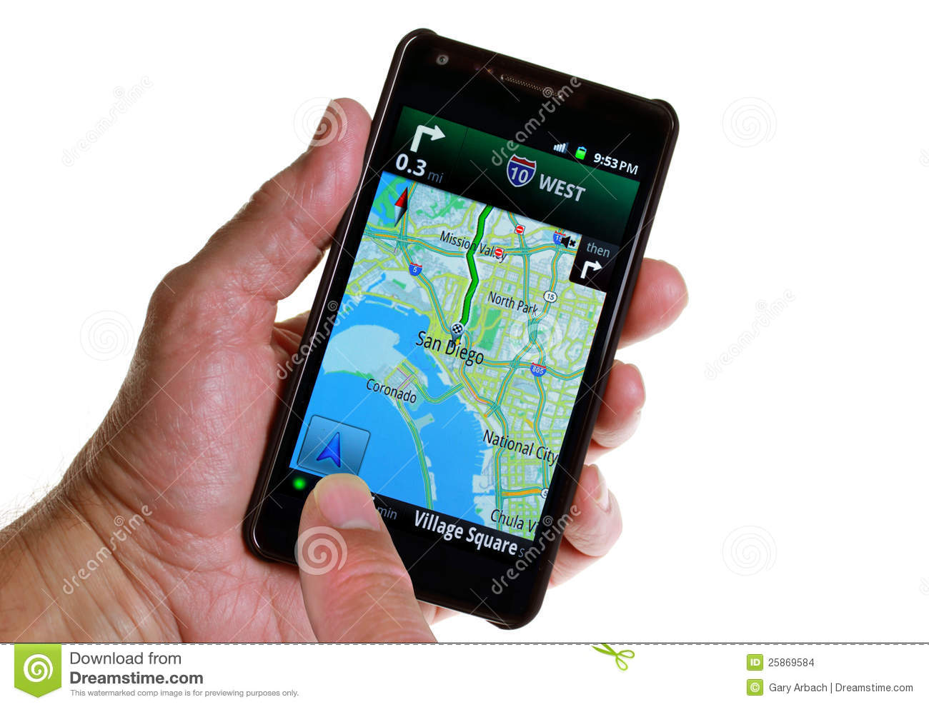 GPS Road Navigation By Smartphone Stock Photo