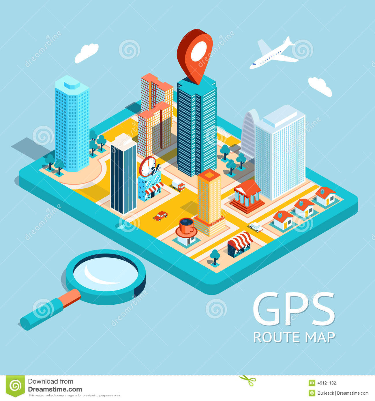 Gps Route Map City Navigation App Stock Illustration