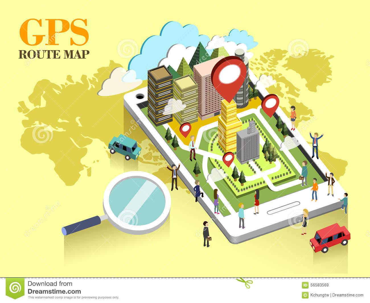 Gps Route Map GPS route map concept stock vector. Illustration of plane   56583569