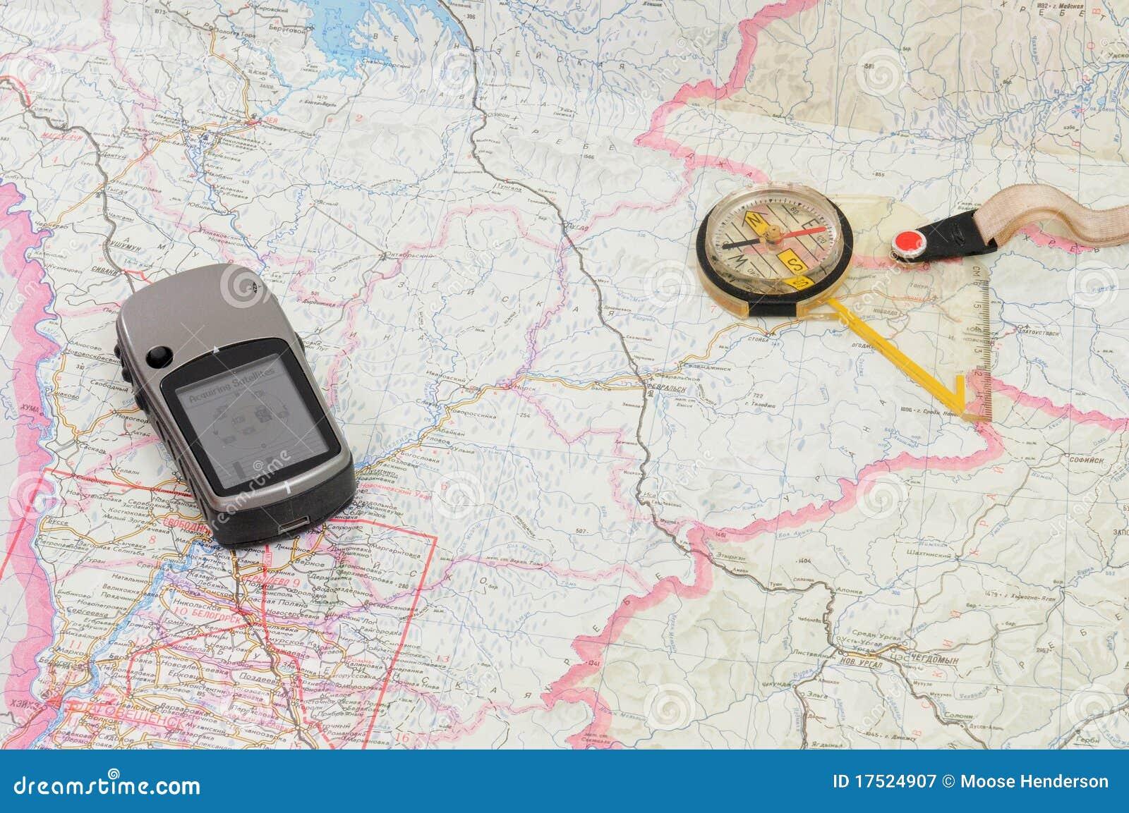 Gps Und Kompass Auf Karte Stockbild Bild Von Diagramm 17524907