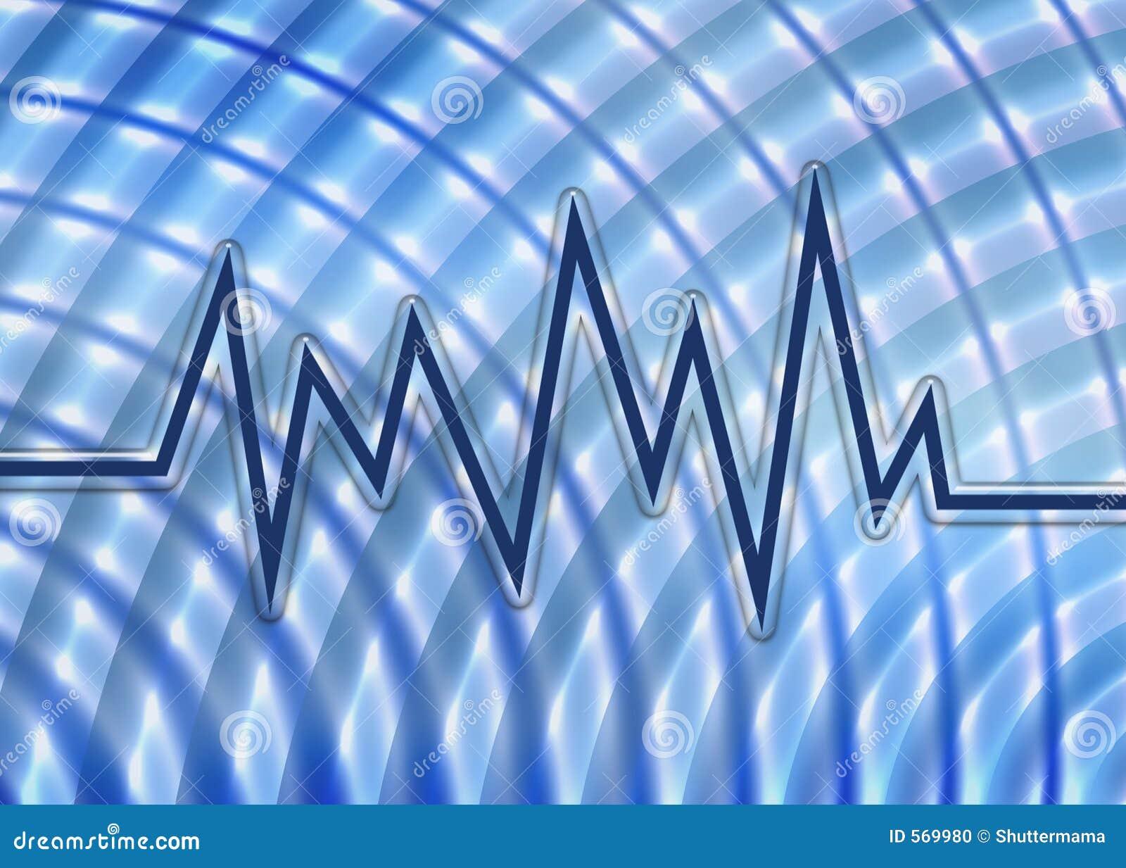 Gráfico azul e fundo da onda sadia