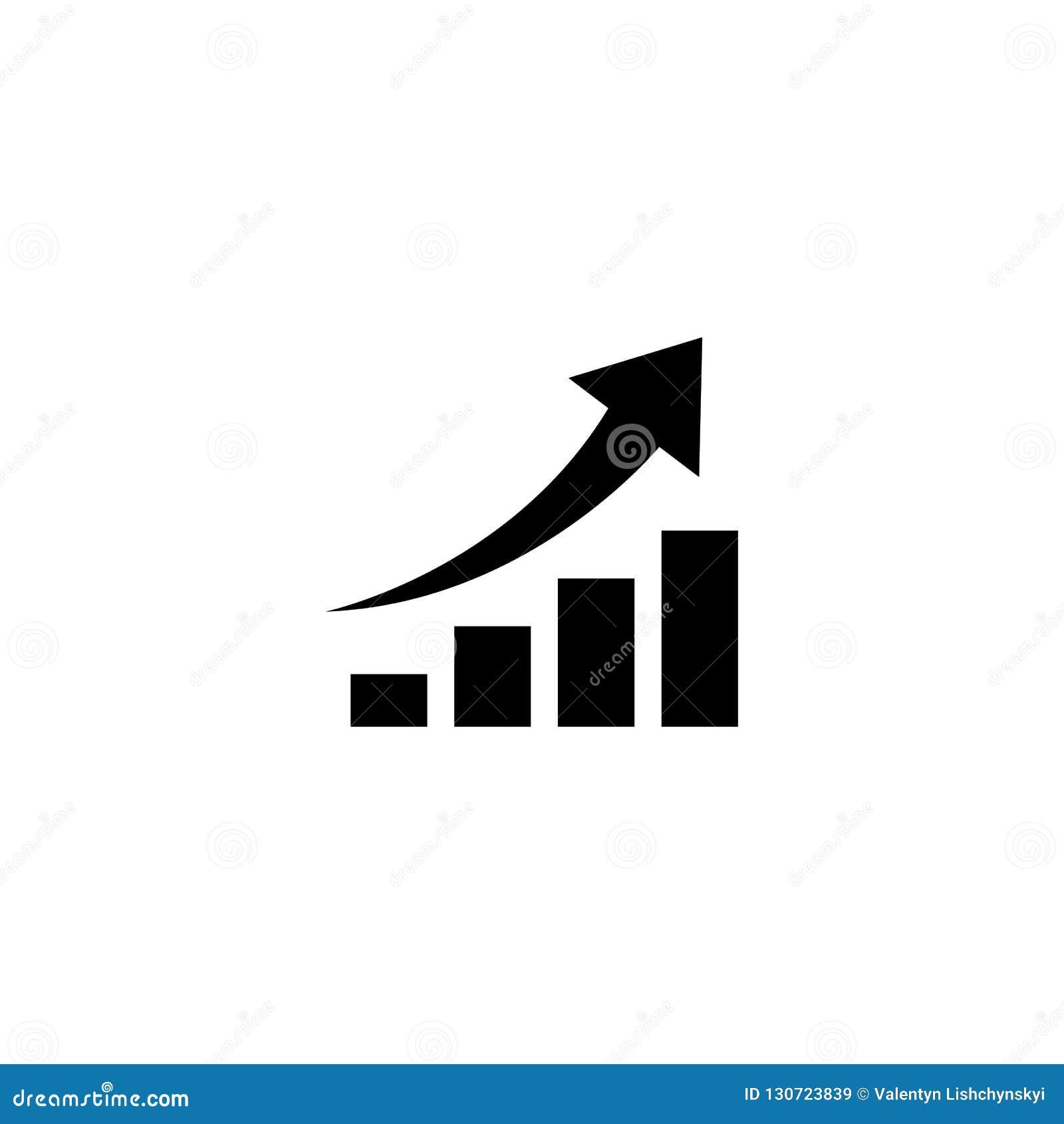 Gráfico com a seta que vai acima Símbolo do vetor