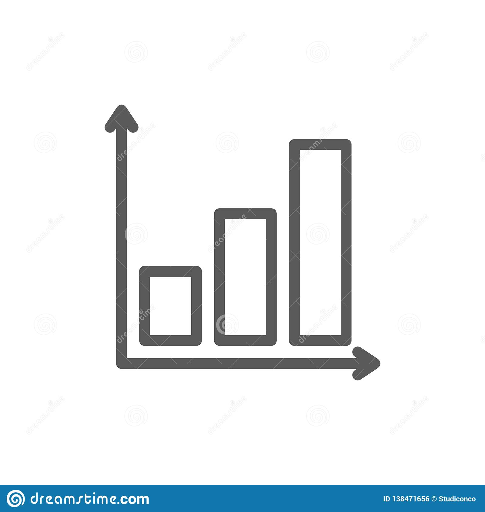 Gráfico con la línea de carta cada vez mayor icono