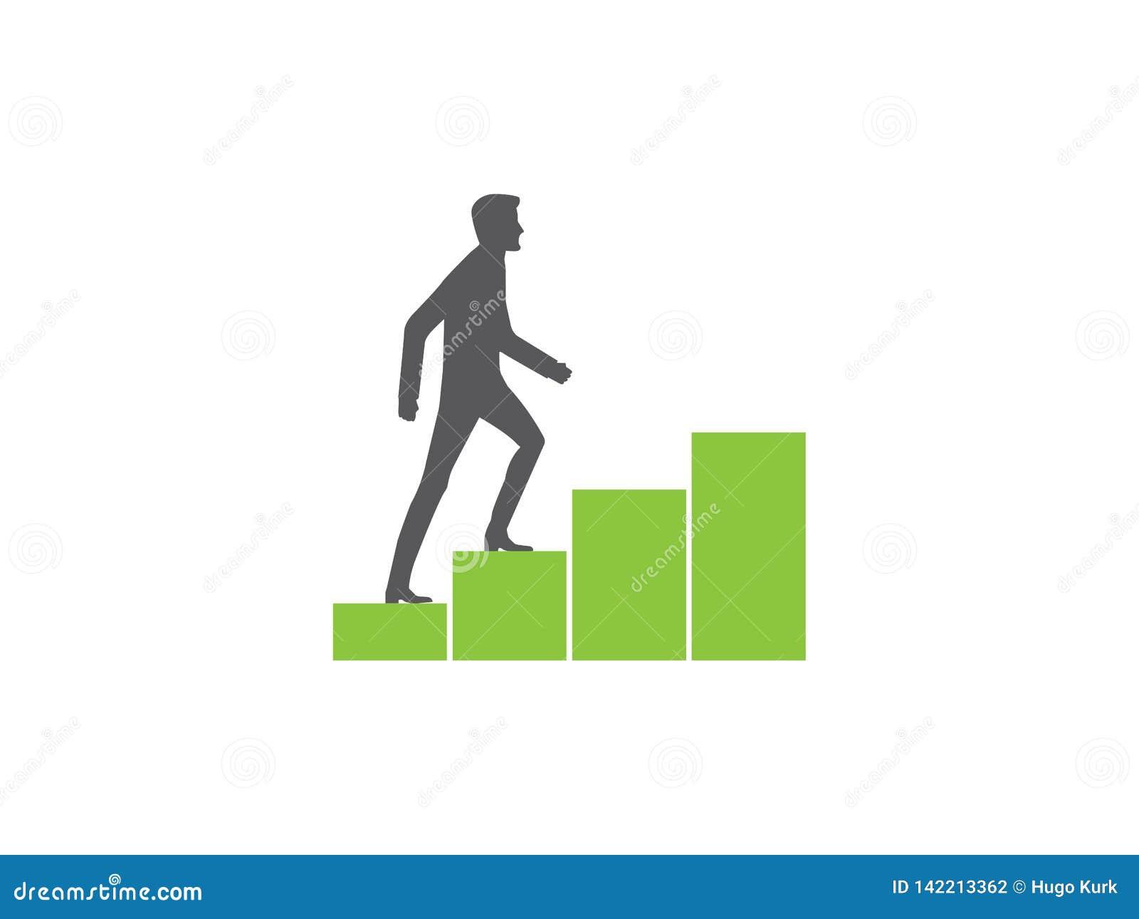 Gráfico crescente do climbin do homem