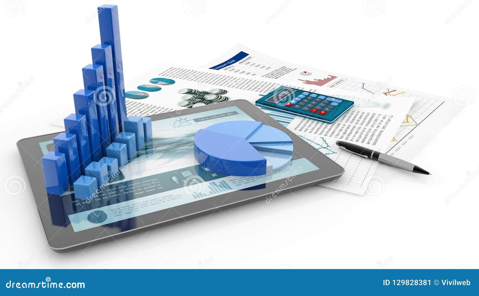 Gráfico de barra, tabuleta e papel do relatório