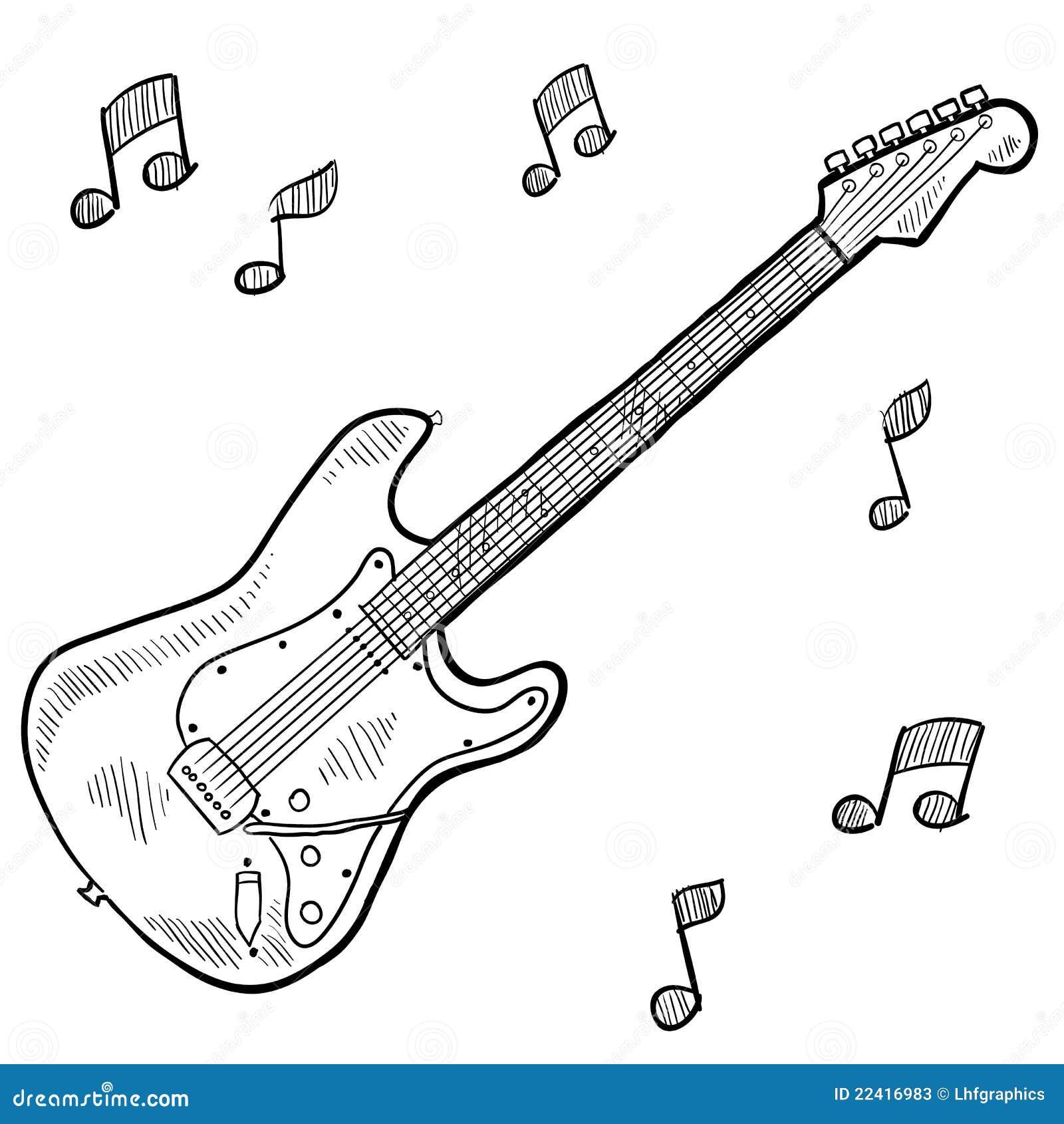 Garabato De La Guitarra Eléctrica Ilustración del Vector ...