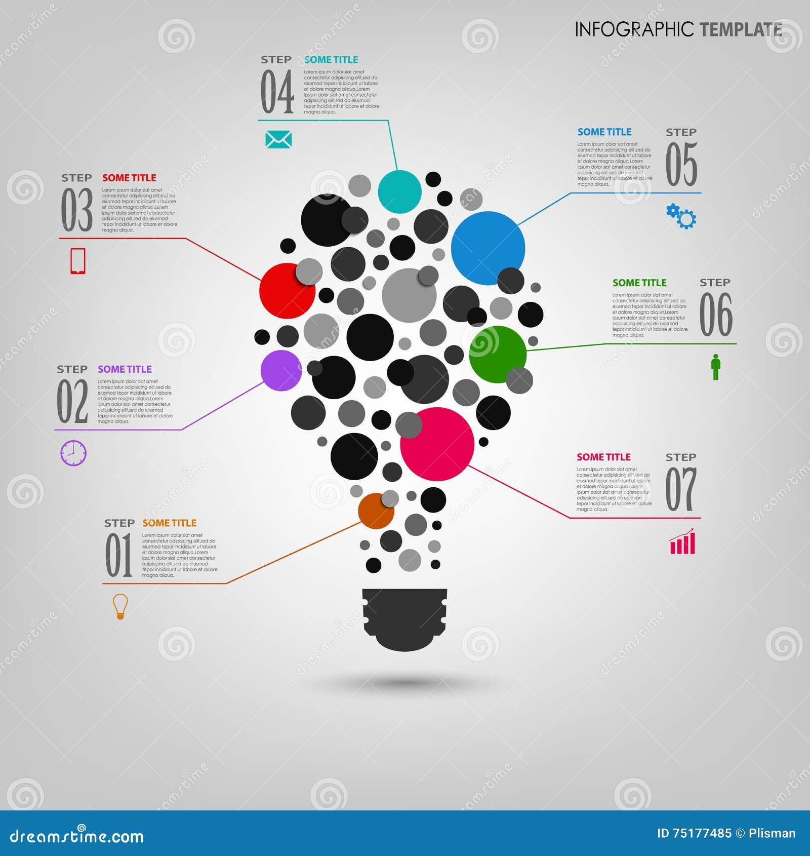 Gráfico de la información con la plantilla coloreada extracto del bulbo