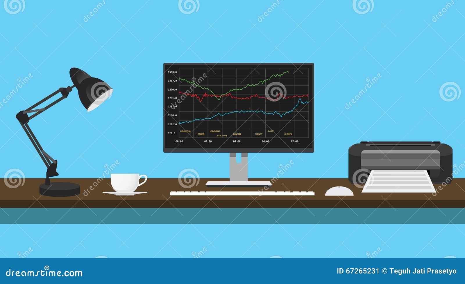 Gráfico de los datos de los fondos mutuos en escritorio del monitor con la impresora de la lámpara
