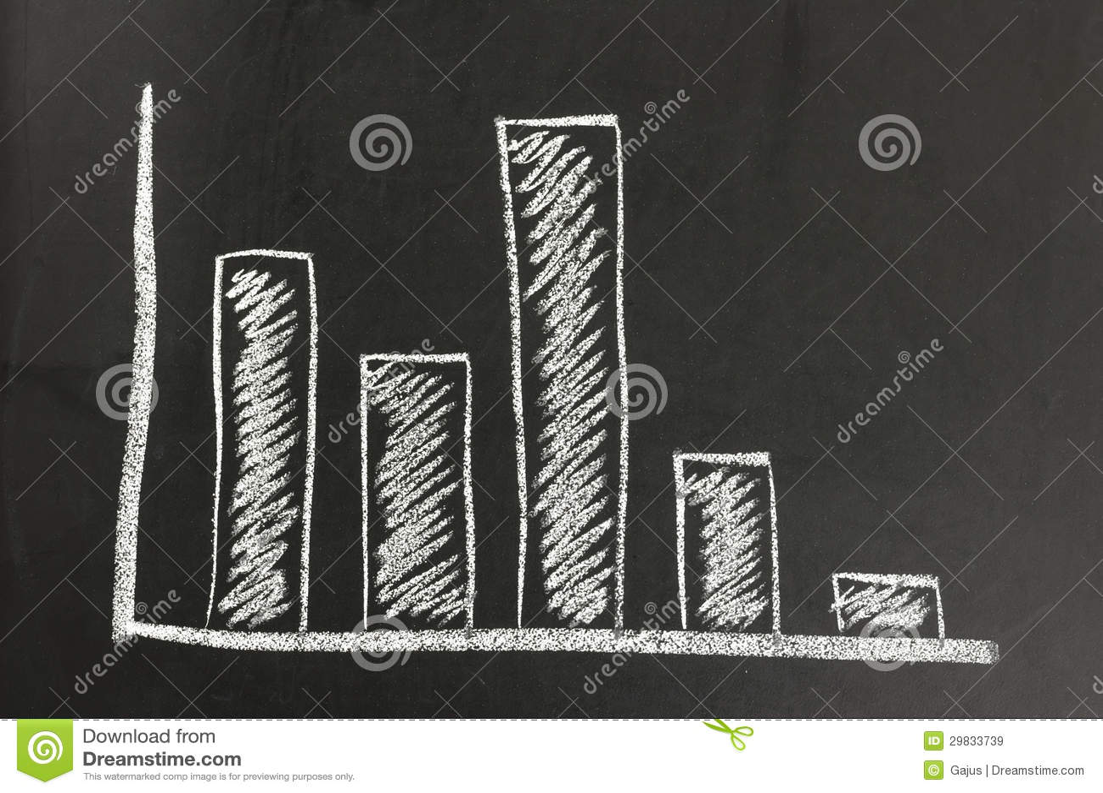 Gráfico de negócio em uma placa preta