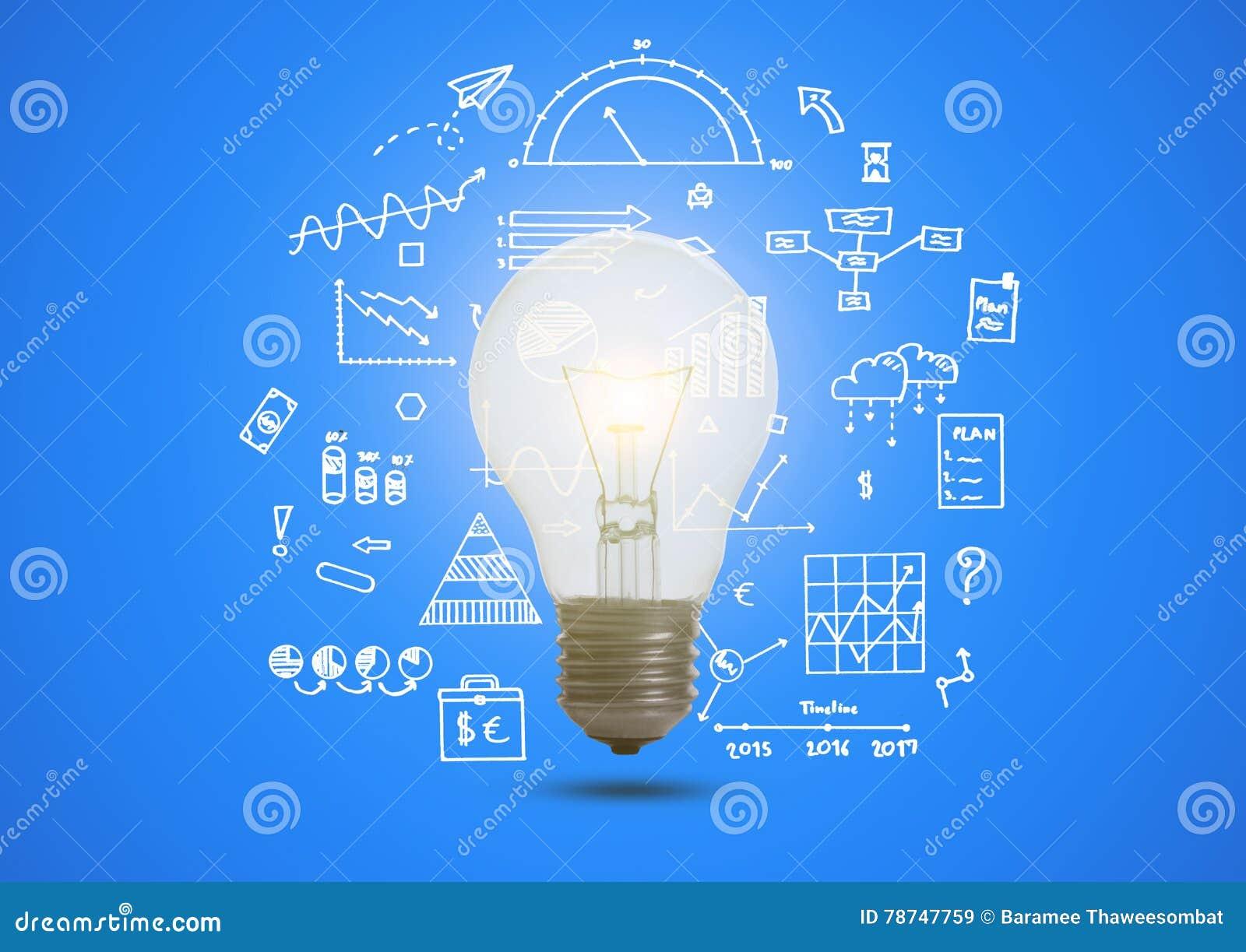 Gráfico de negócio com conceito iluminado da ampola para a ideia