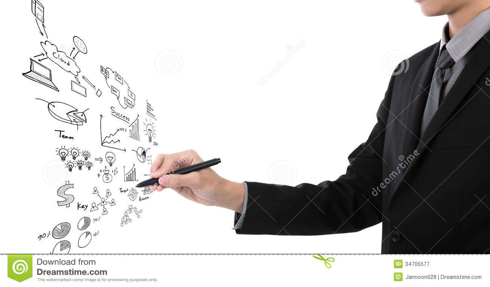 Gráfico de negocio de la escritura del hombre de negocios