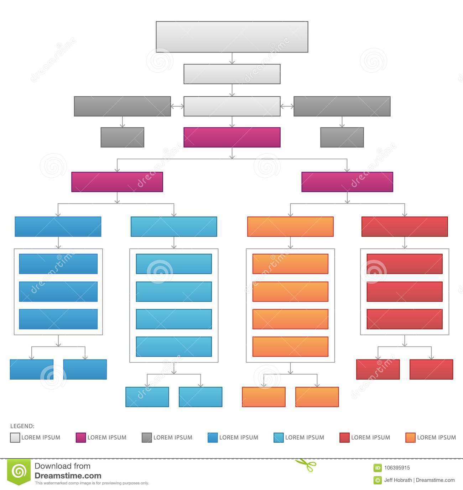 Gráfico de vector corporativo de organización vertical del organigrama