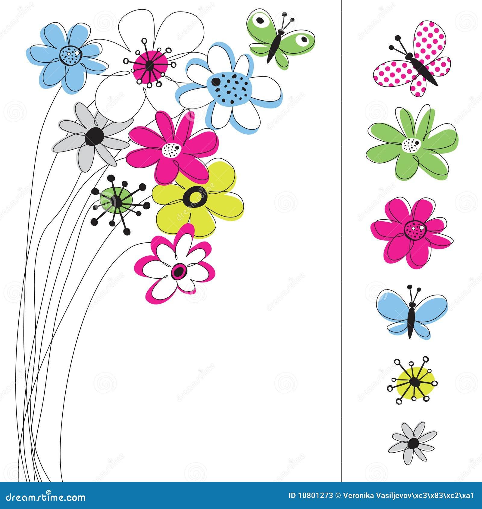 Grafico De Vetor Ajustado Com Flores Ilustracao Do Vetor