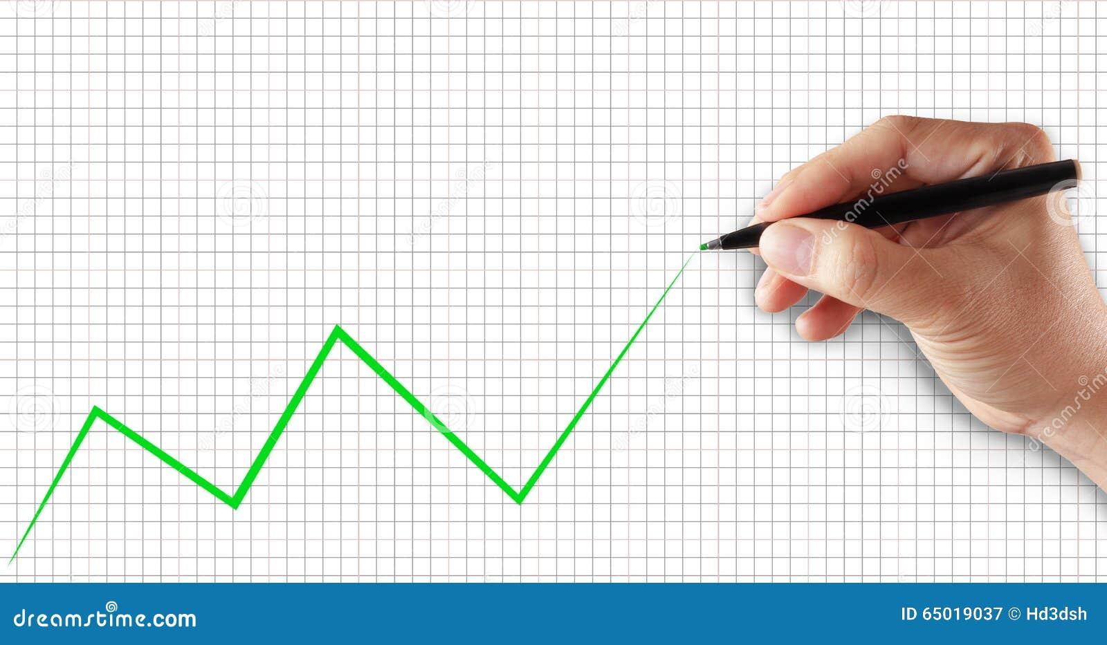 Gráfico del éxito, Línea Verde del dibujo de la mano