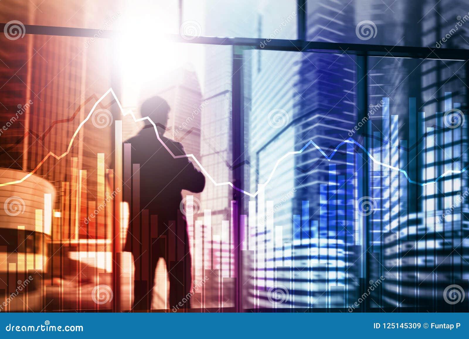 Gráfico del negocio y de las finanzas en fondo borroso Concepto del comercio, de la inversión y de la economía