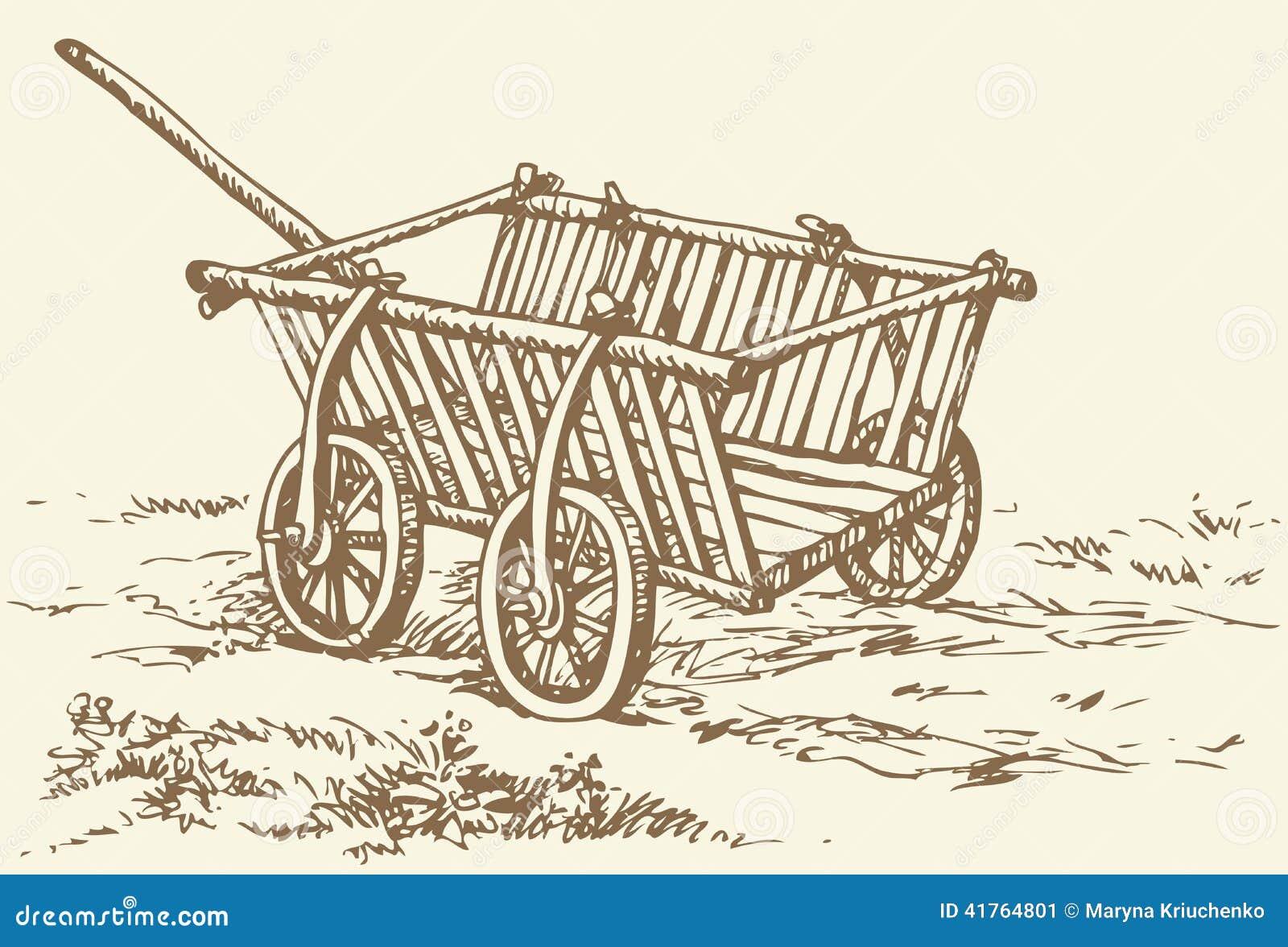 Gráfico del vector Carro vacío de madera arcaico