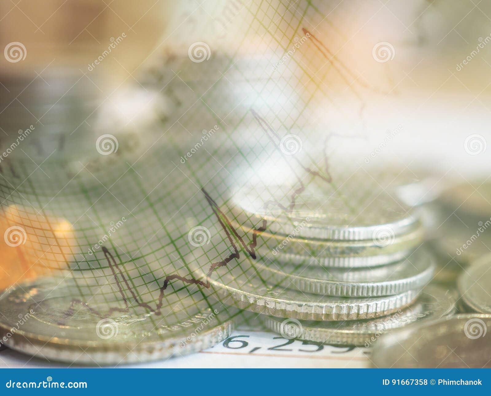 Gráfico e fileiras das moedas