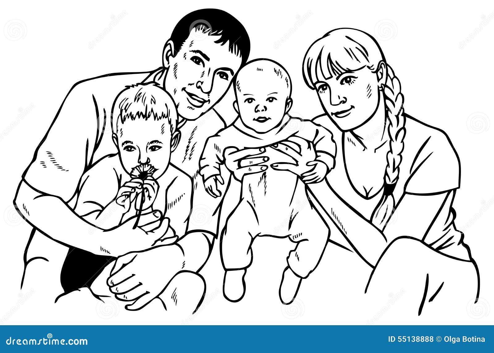 Libro Para Colorear Madre Hija Ilustraciones Vectoriales Clip: Gráfico Feliz De La Familia Ilustración Del Vector