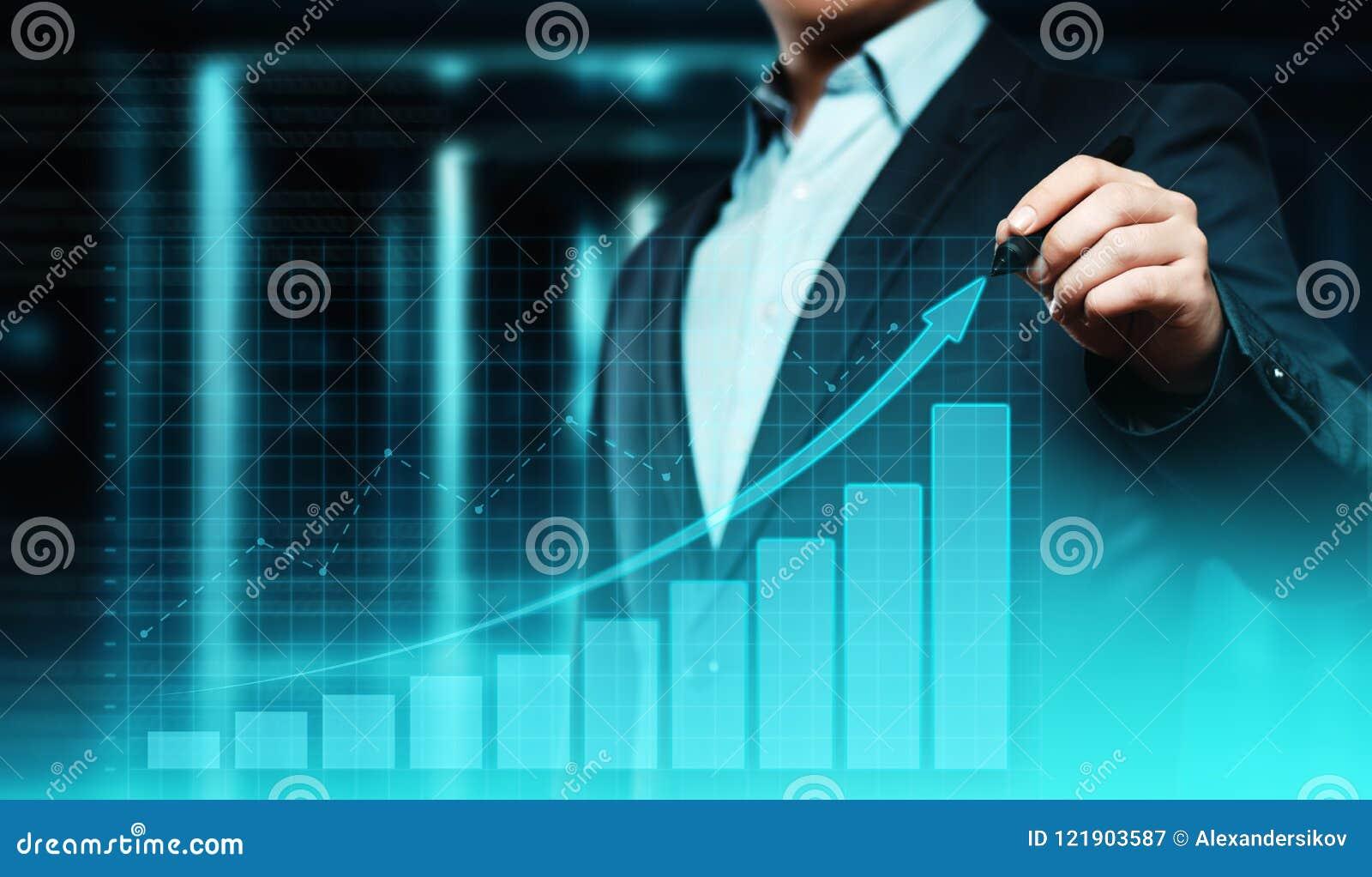 Gráfico financiero Carta del mercado de acción Concepto de la tecnología de Internet del negocio de la inversión de las divisas