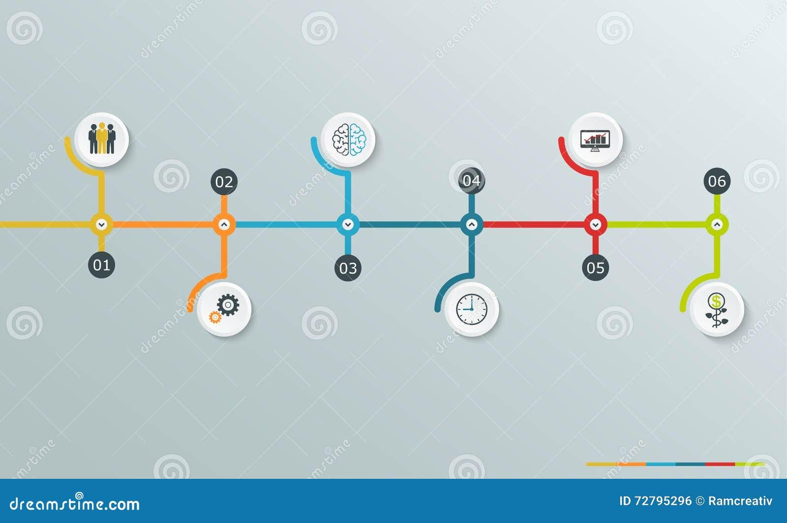 Gráfico Infographic De La Cronología Con Los Iconos Del