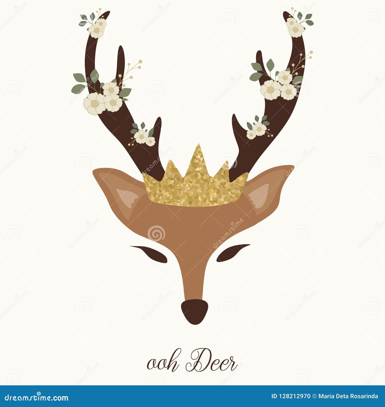 Gráfico lindo de los ciervos con el cuerno, la flor y la corona