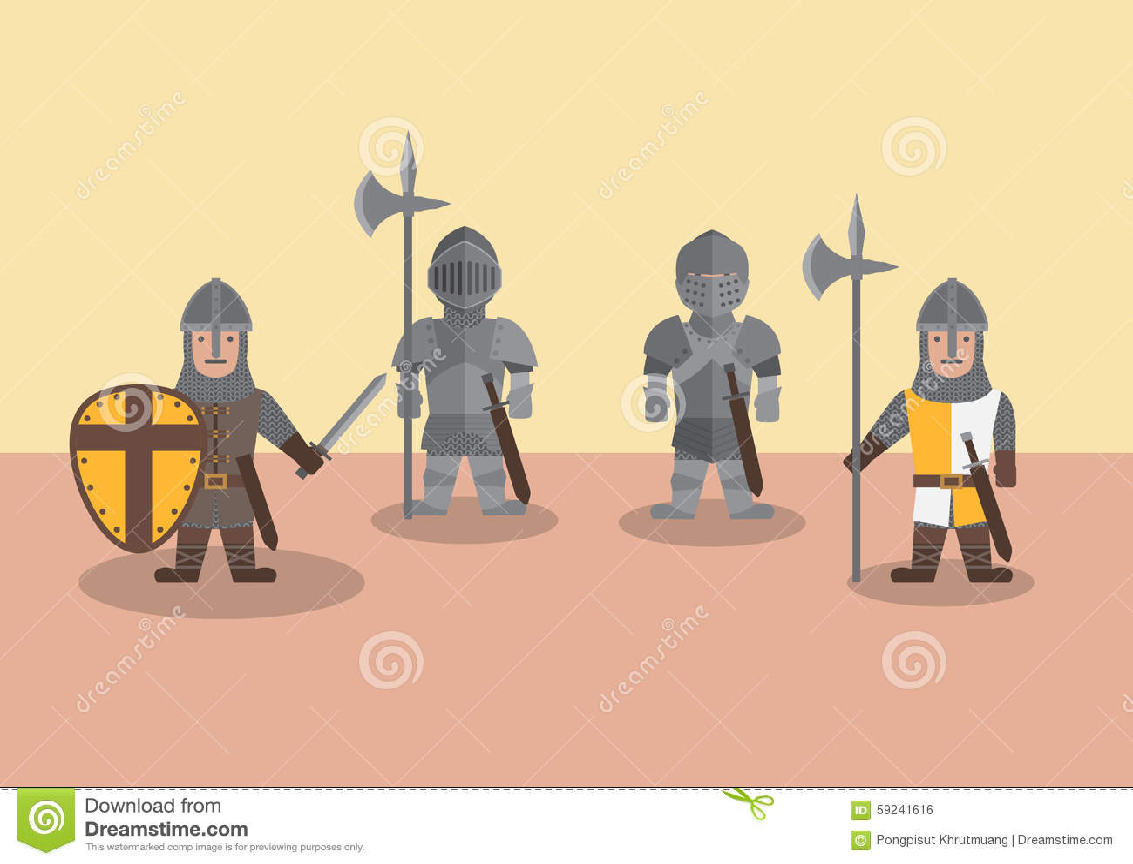 Gráfico plano del soldado medieval