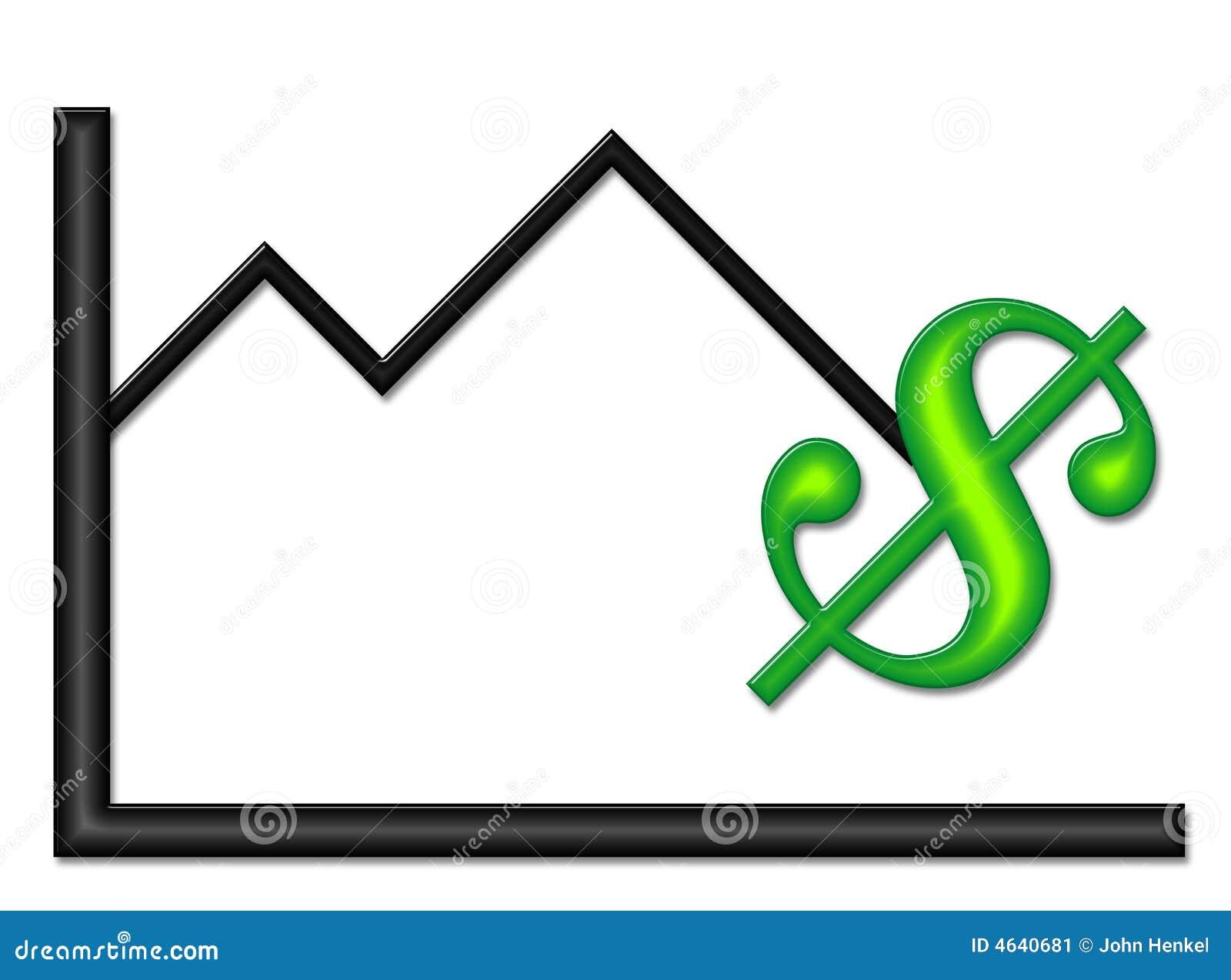 Gráfico preto com símbolo do dinheiro verde