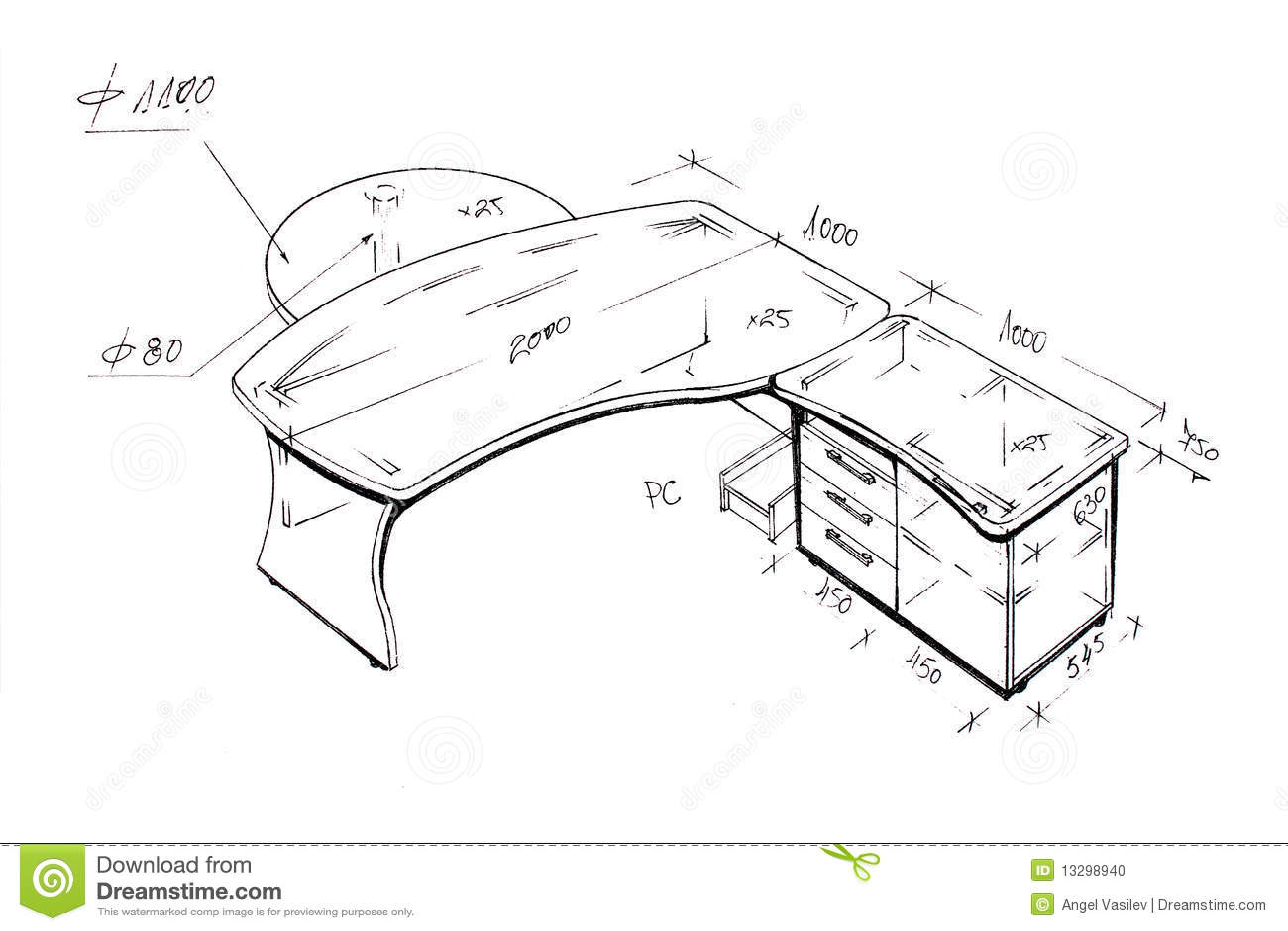 Gr fico a pulso del escritorio moderno del dise o interior for Escritorios para oficina dimensiones
