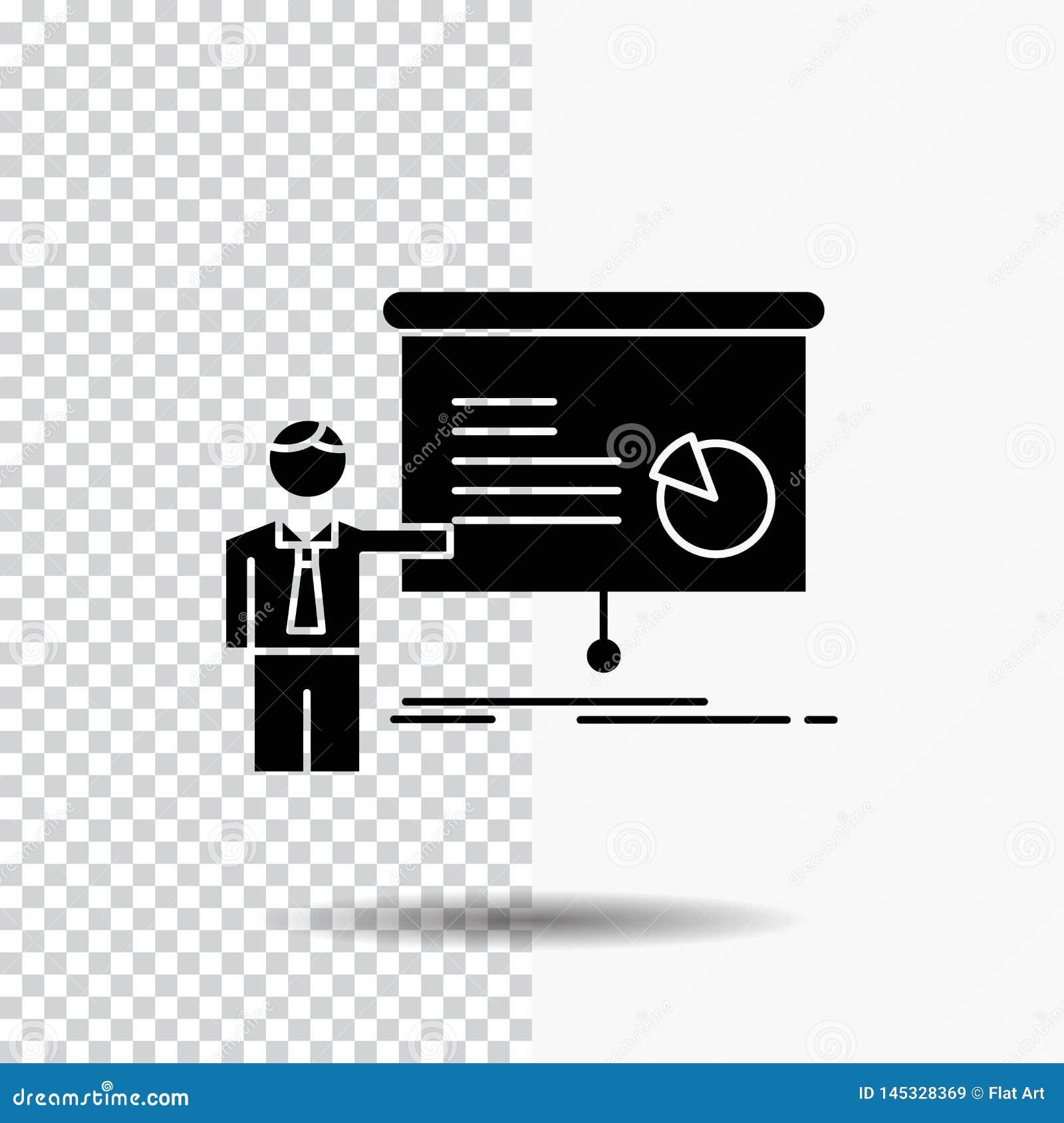 Gráfico, reunión, presentación, informe, icono del Glyph del seminario en fondo transparente Icono negro