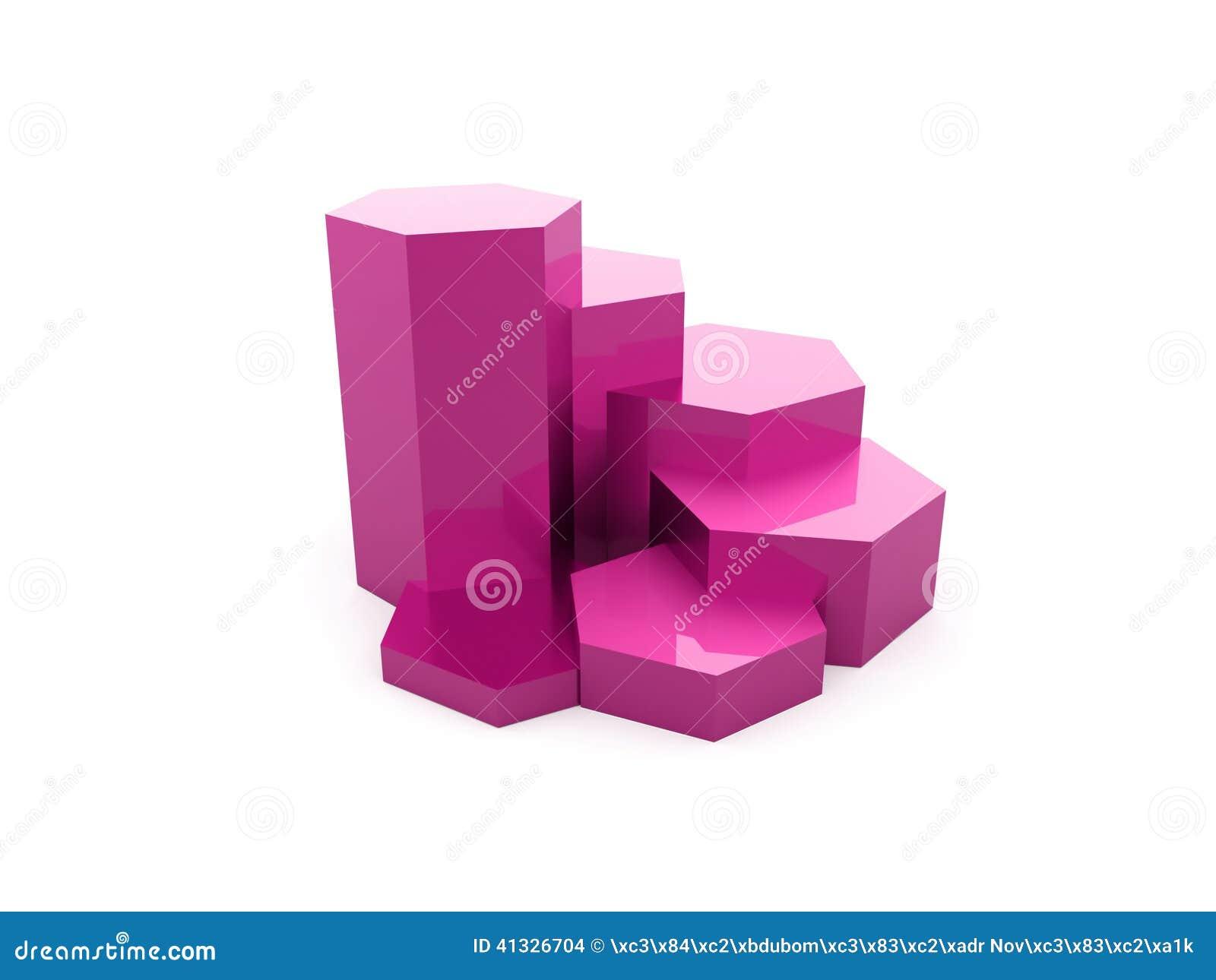 Gráfico sextavado cor-de-rosa rendido isolado