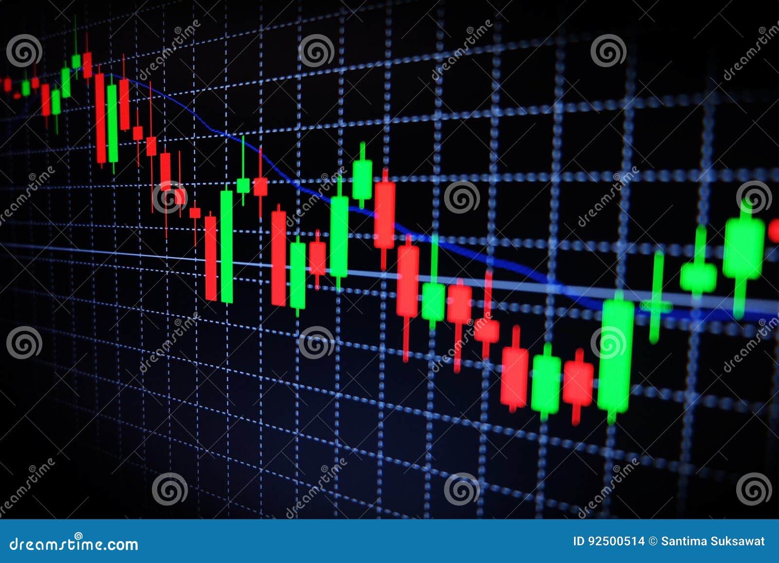 Gráfico verde y rojo del mercado de acción con el fondo negro, mercado de las divisas, negociando