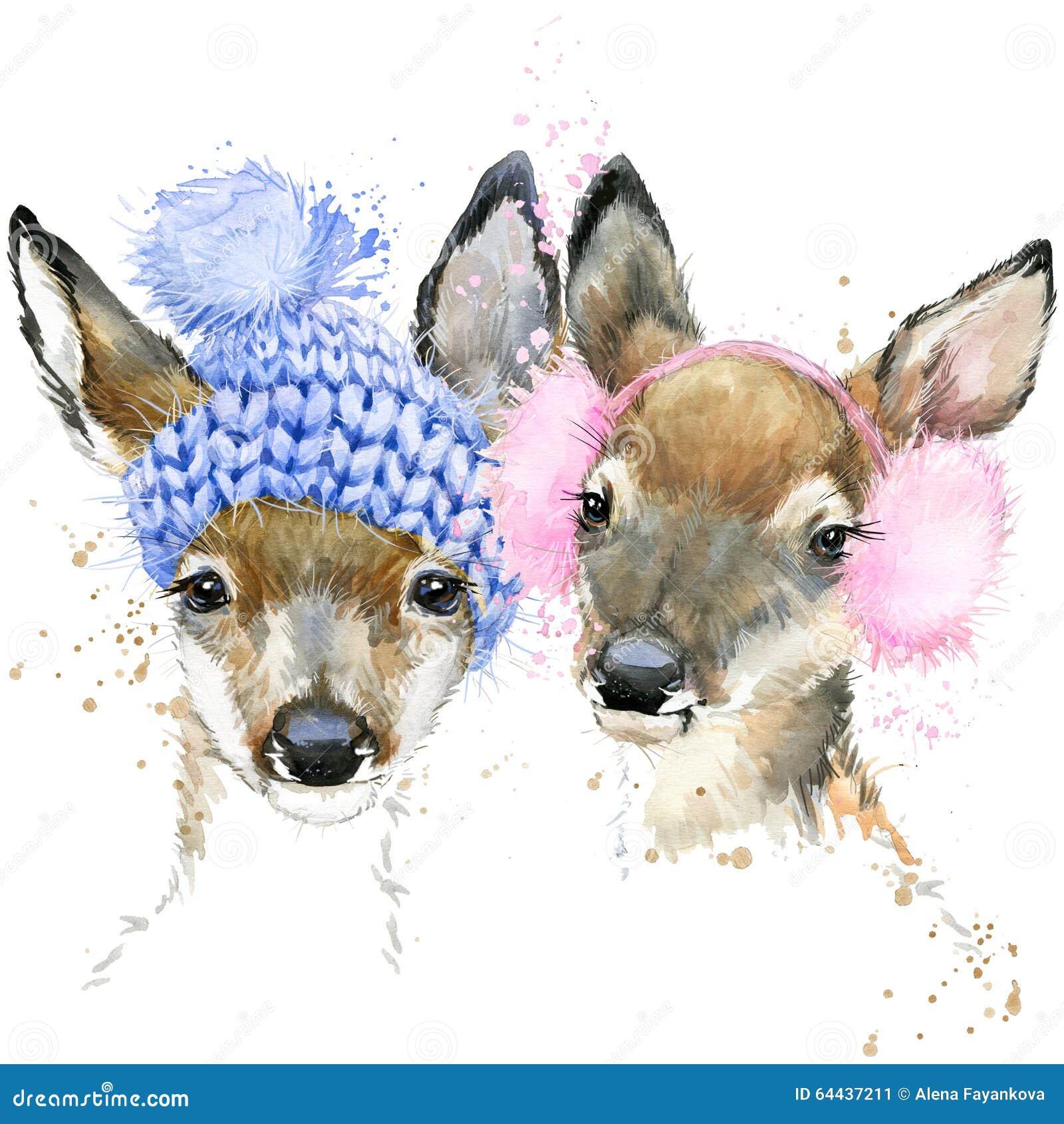 Gráficos bonitos do t-shirt dos cervos da floresta, ilustração dos cervos da aquarela