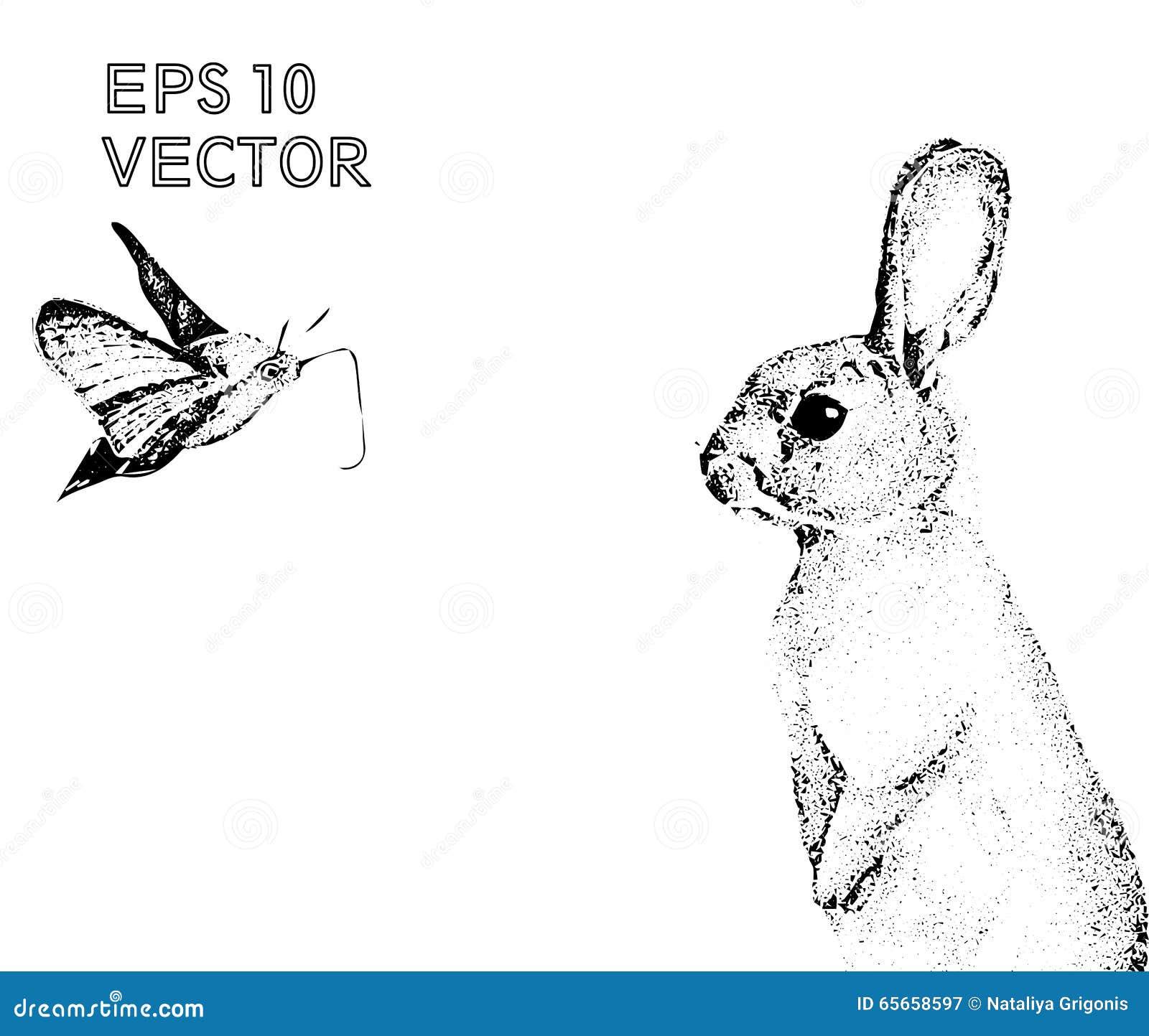 Gráficos Conejo Hecho A Mano, Vector Del Puntillismo De Las Liebres ...